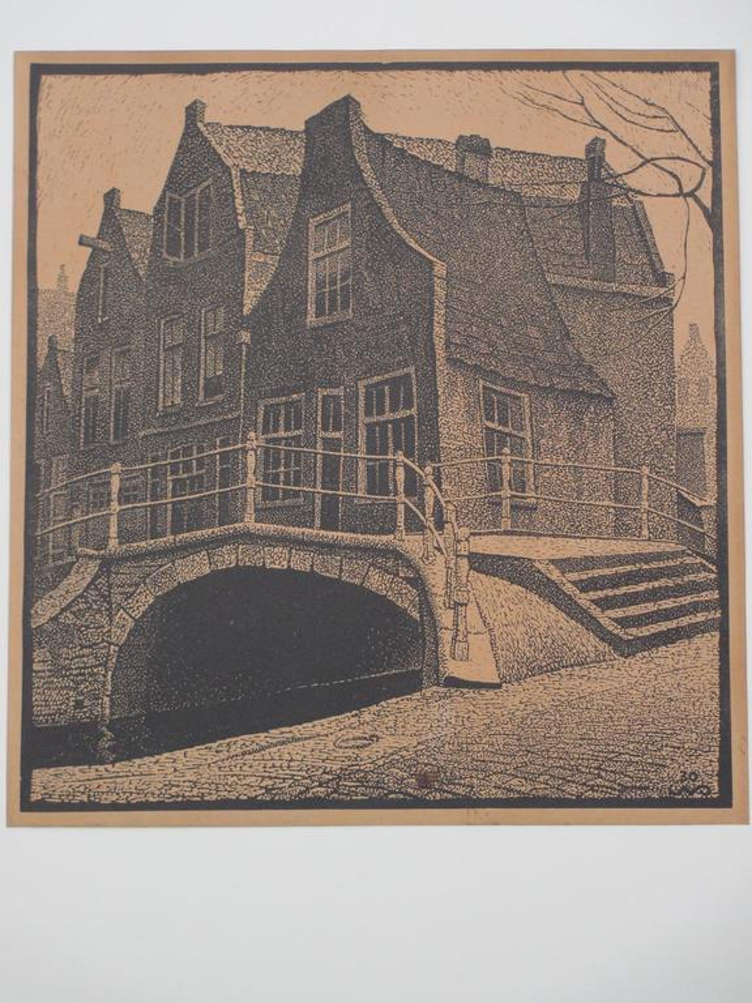 Cornelis van Oel, Stadsgezicht Delft, Houtsnede kopen? Bied vanaf 35!