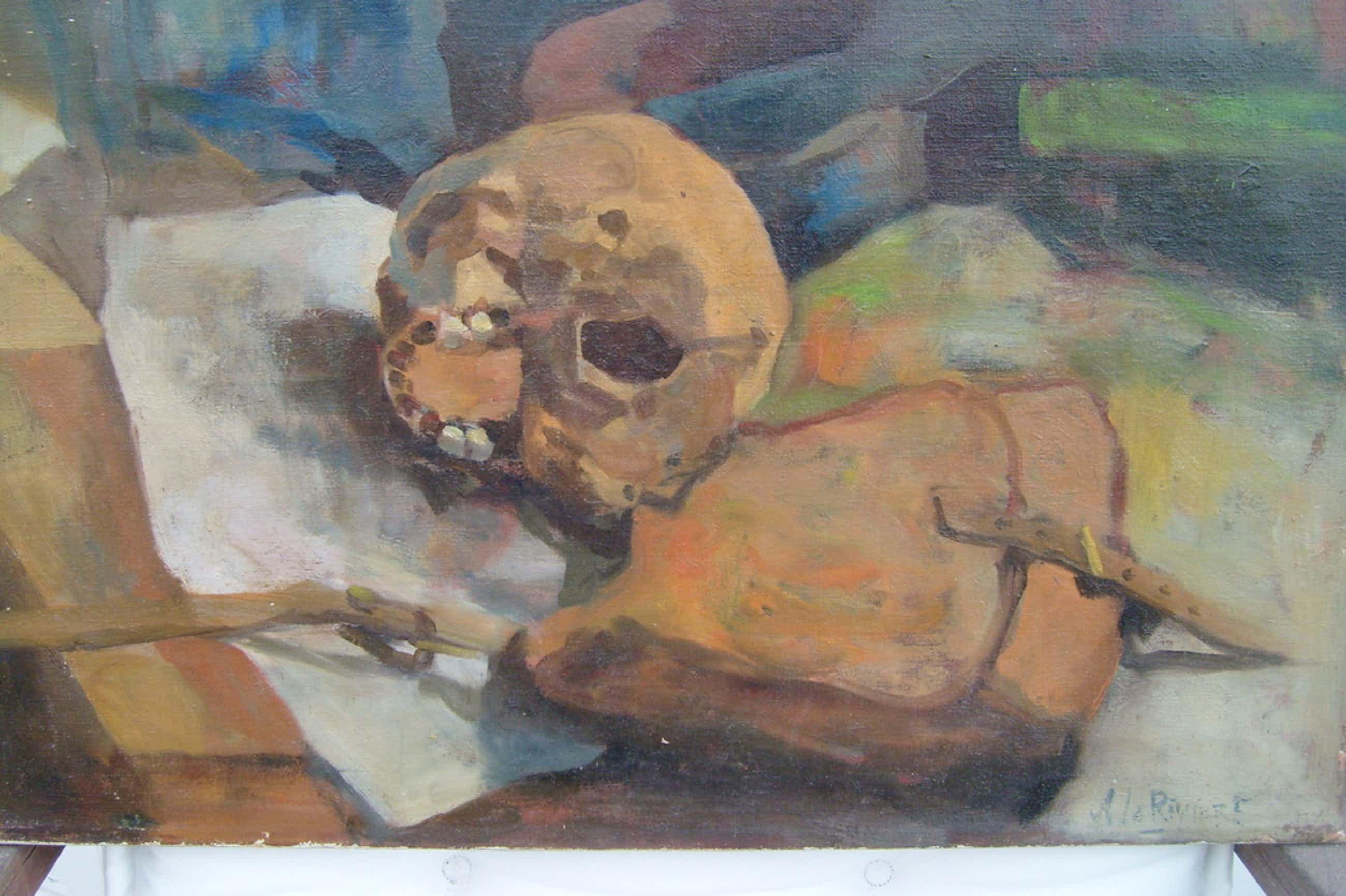 Adriaan de La Riviére,stilleven met schedel,olieverf op doek, r.o. gesigneerd kopen? Bied vanaf 100!