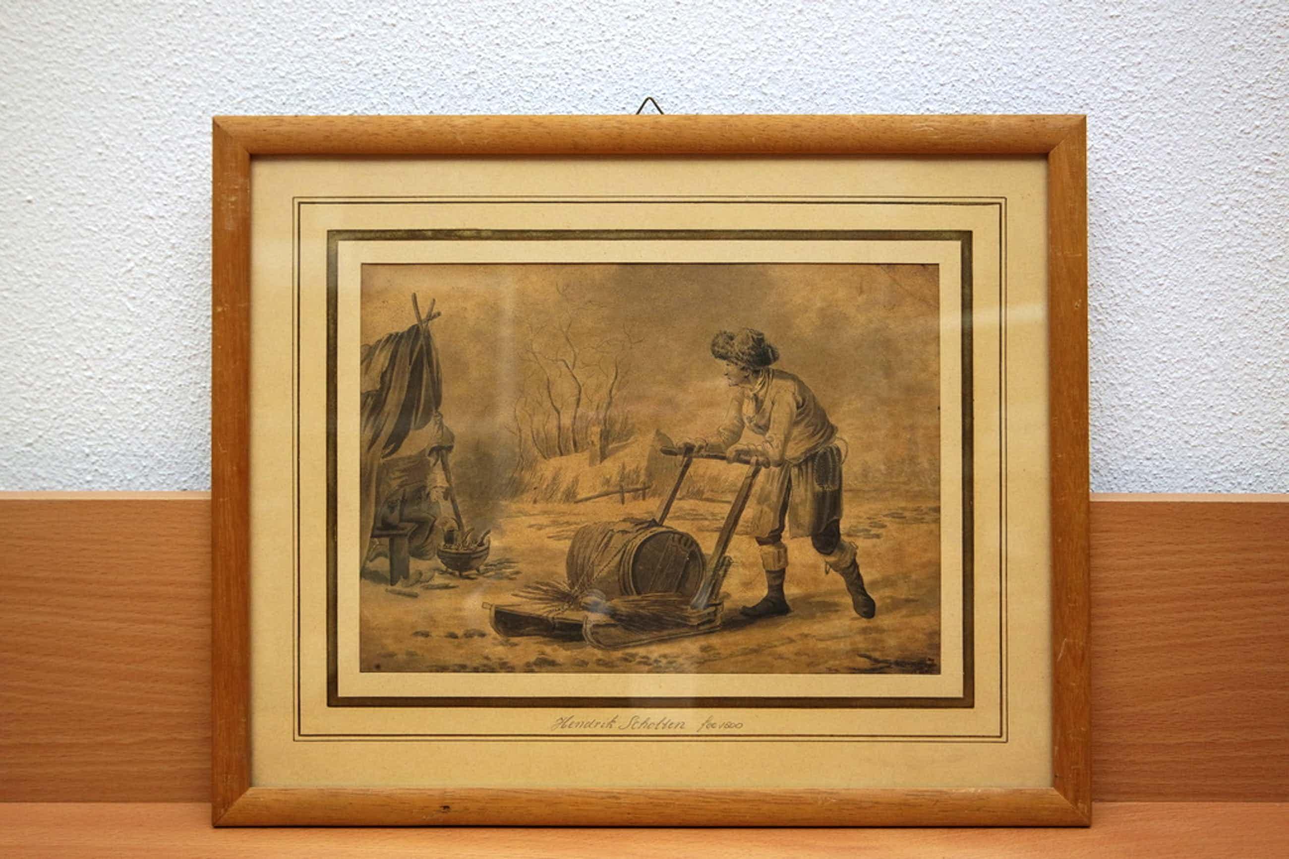 Hendrik Jacobus Scholten (1824-1907) - tartaar met slee in winters landschap kopen? Bied vanaf 100!