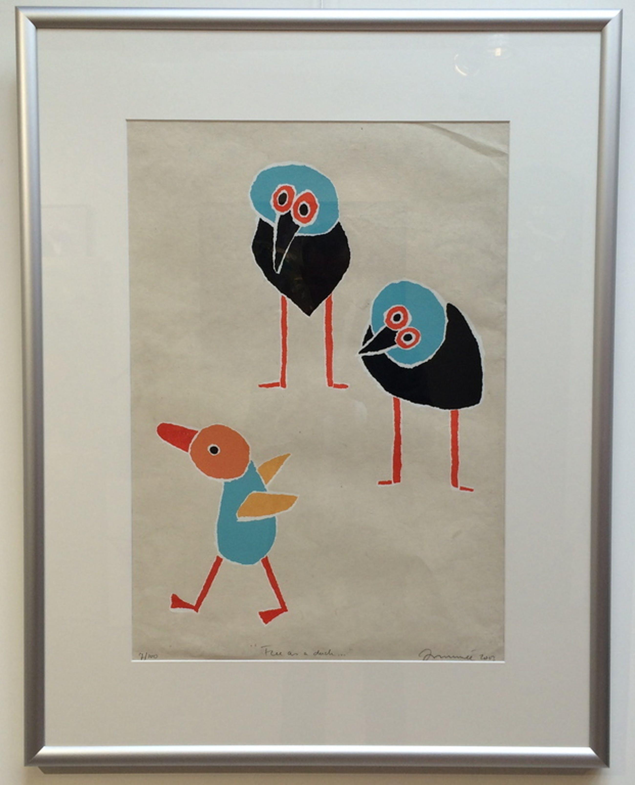 """Hans Innemée, zeefdruk met lijst, titel """" free as a duck """" kopen? Bied vanaf 50!"""