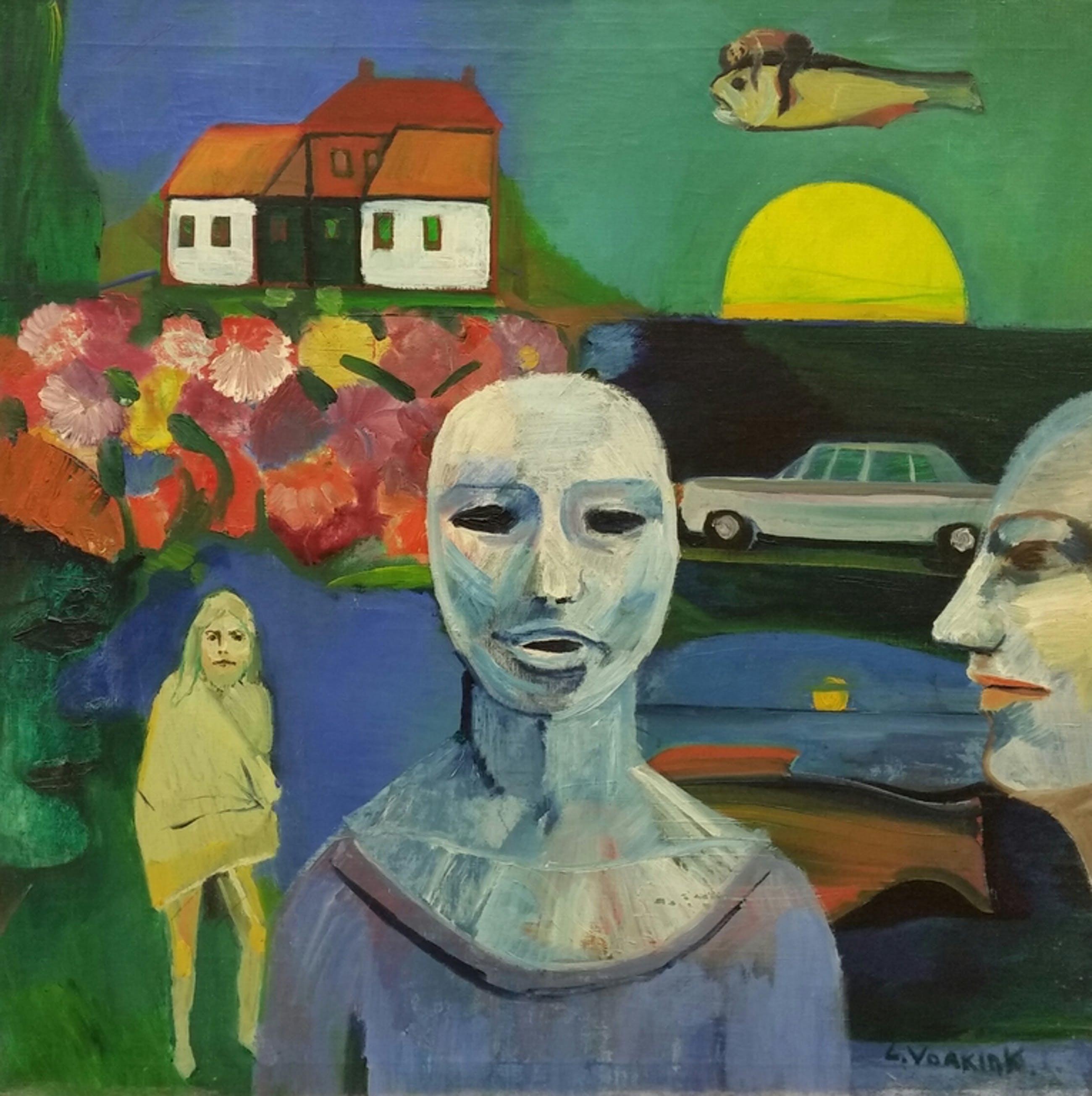 Louis Vorkink, olieverf op doek, Vrouw met masker (1969) kopen? Bied vanaf 75!