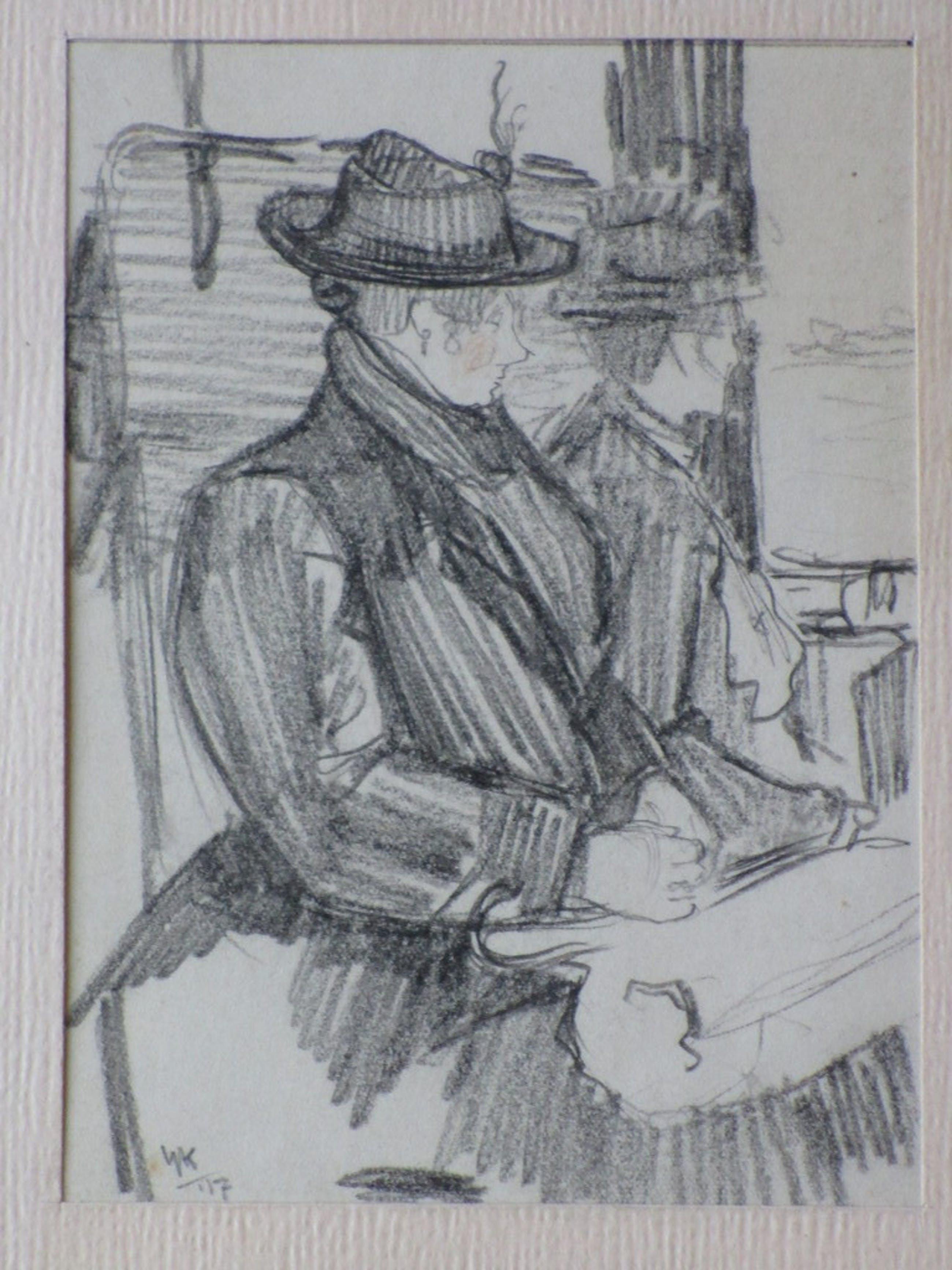 Hendrik IJkelenstam, In de trein, Tekening 1917 kopen? Bied vanaf 25!