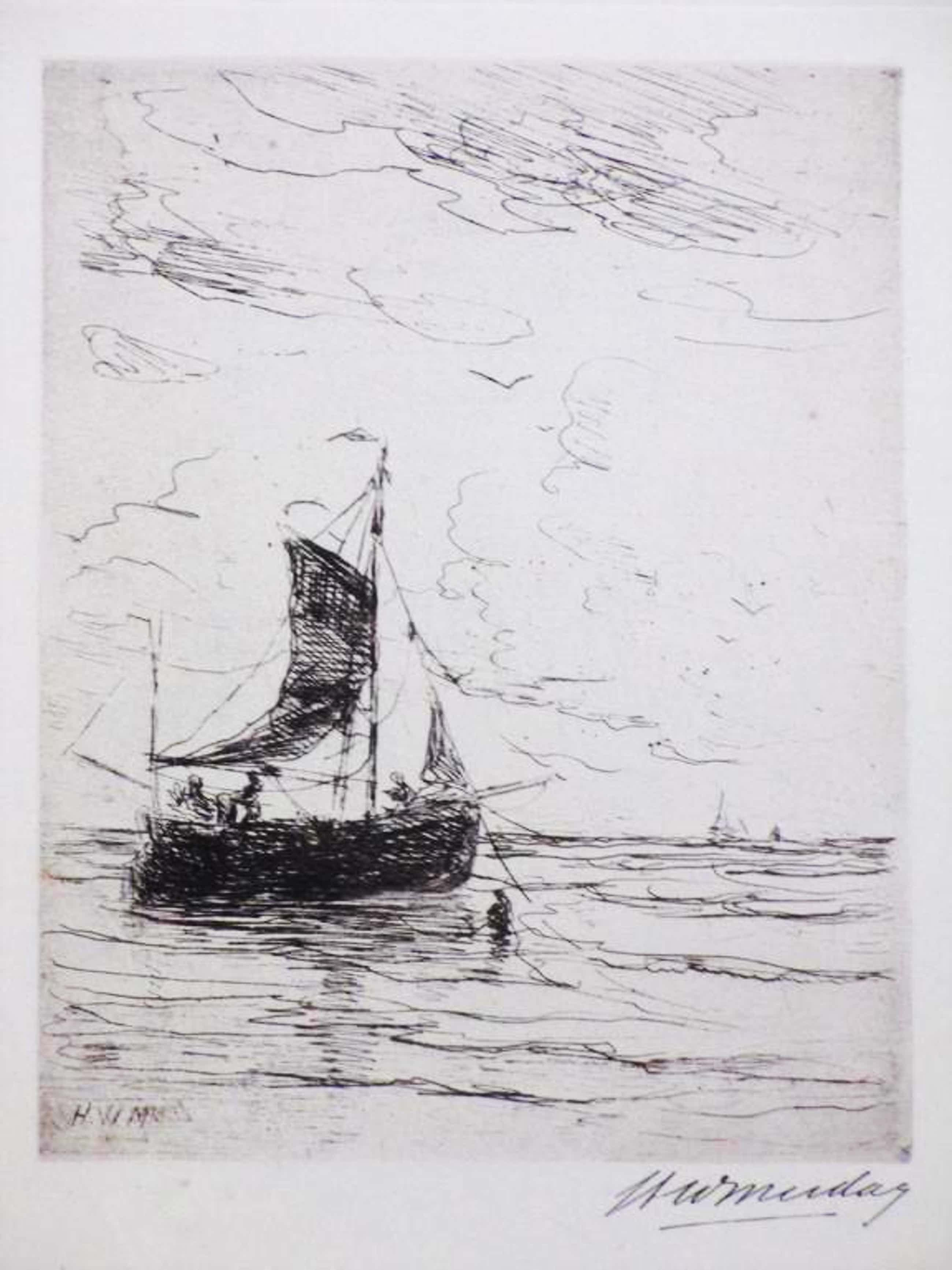 Hendrik W.Mesdag, Schuiten aan de kust, Litho kopen? Bied vanaf 45!
