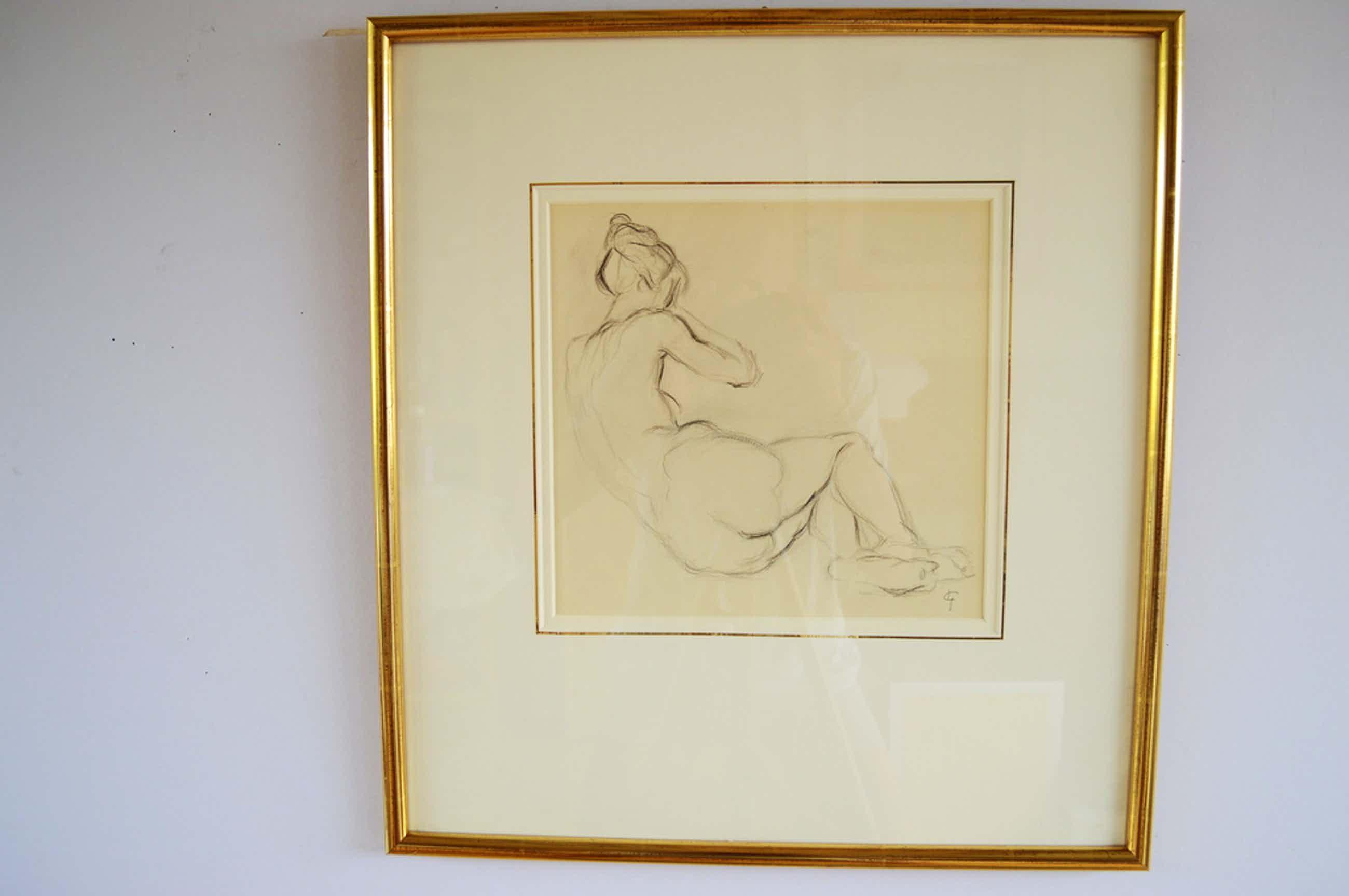 Leo Gestel (1881-1941) zittend naakt, 27x27 krijt z.j.  kopen? Bied vanaf 150!