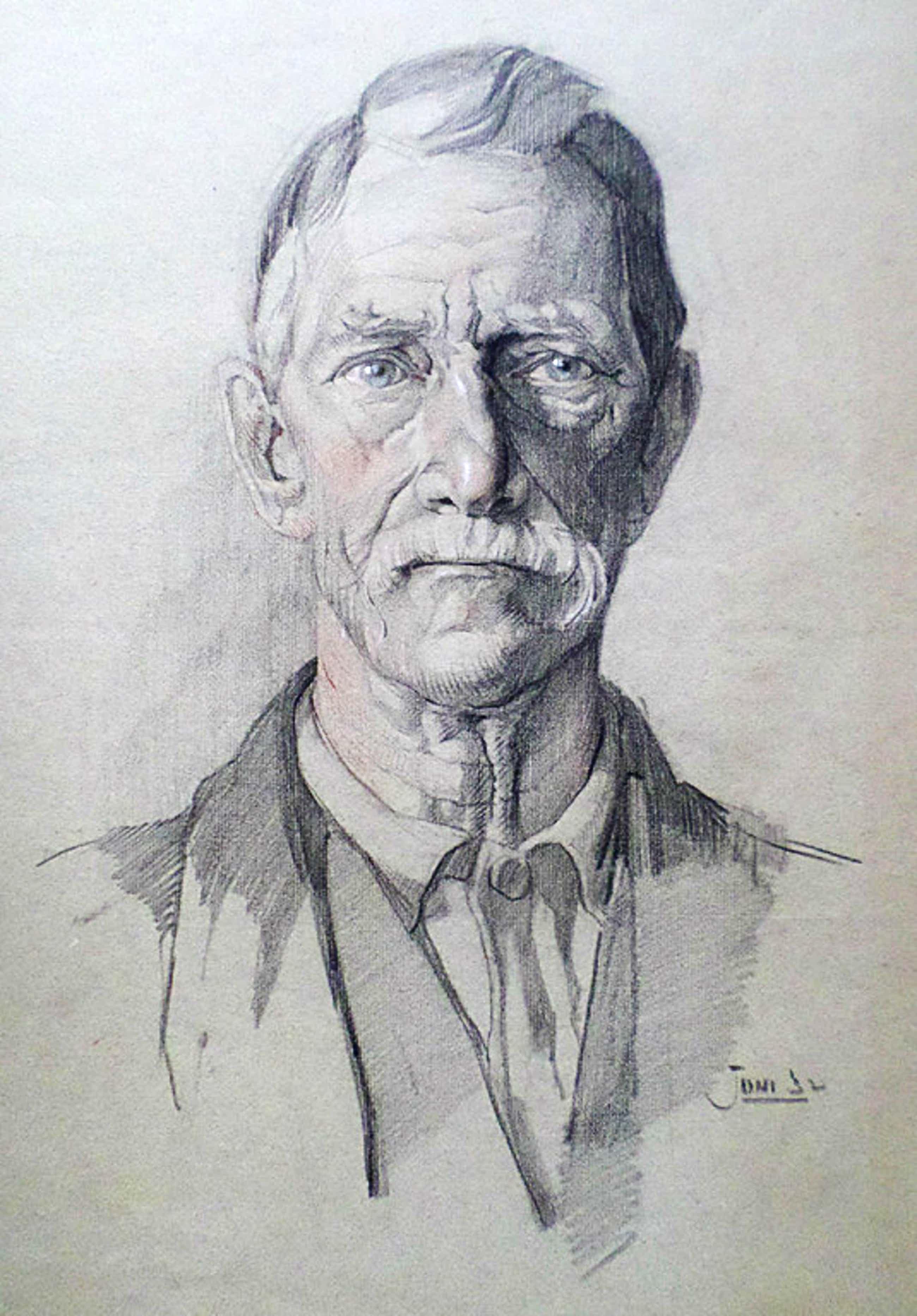 Hans van Dokkum – Portret van oude man, tekening met krijt kopen? Bied vanaf 50!