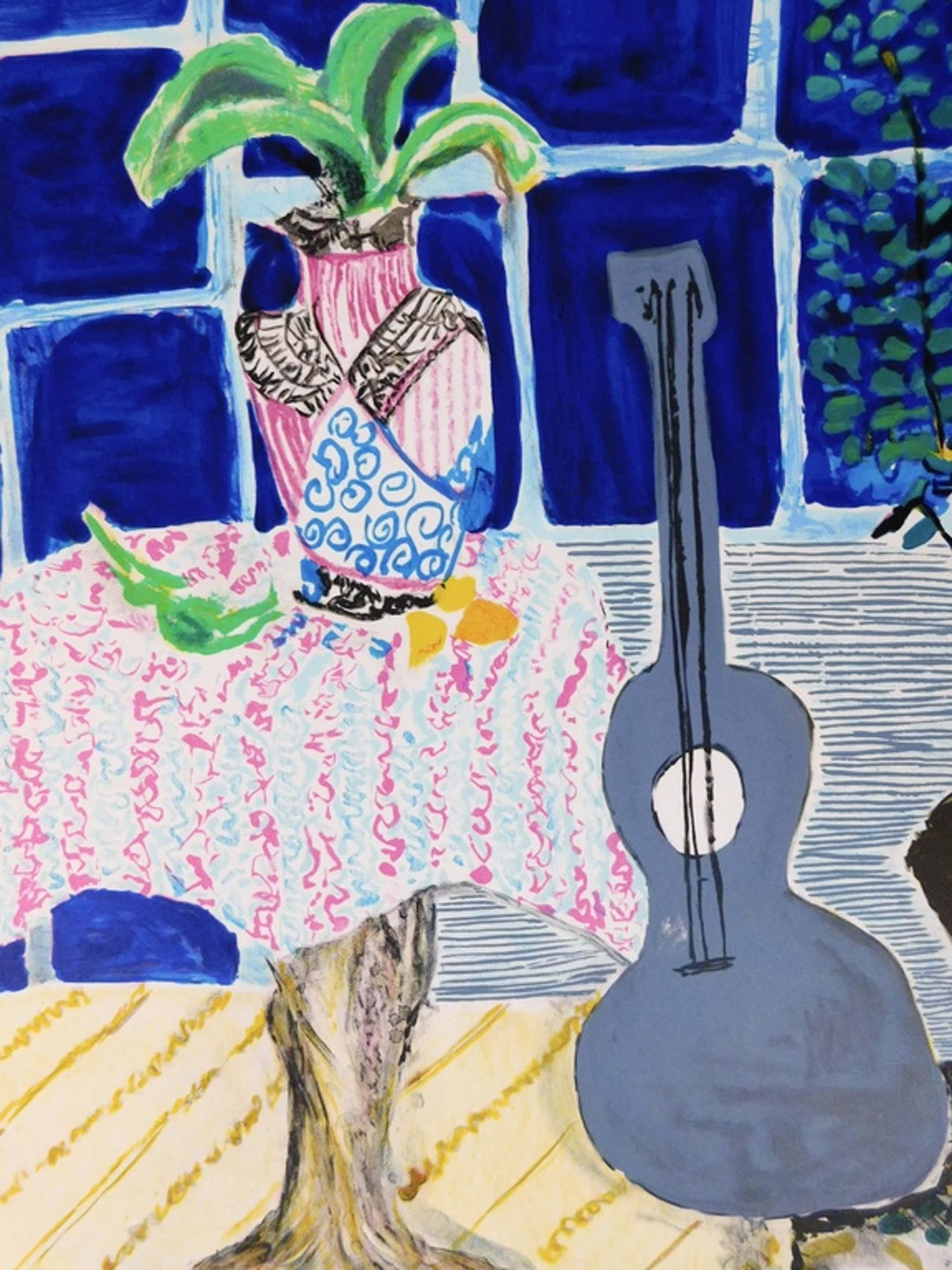 Wendy Chazin - Kleurenlitho - Composition with Guitar and Vase kopen? Bied vanaf 75!