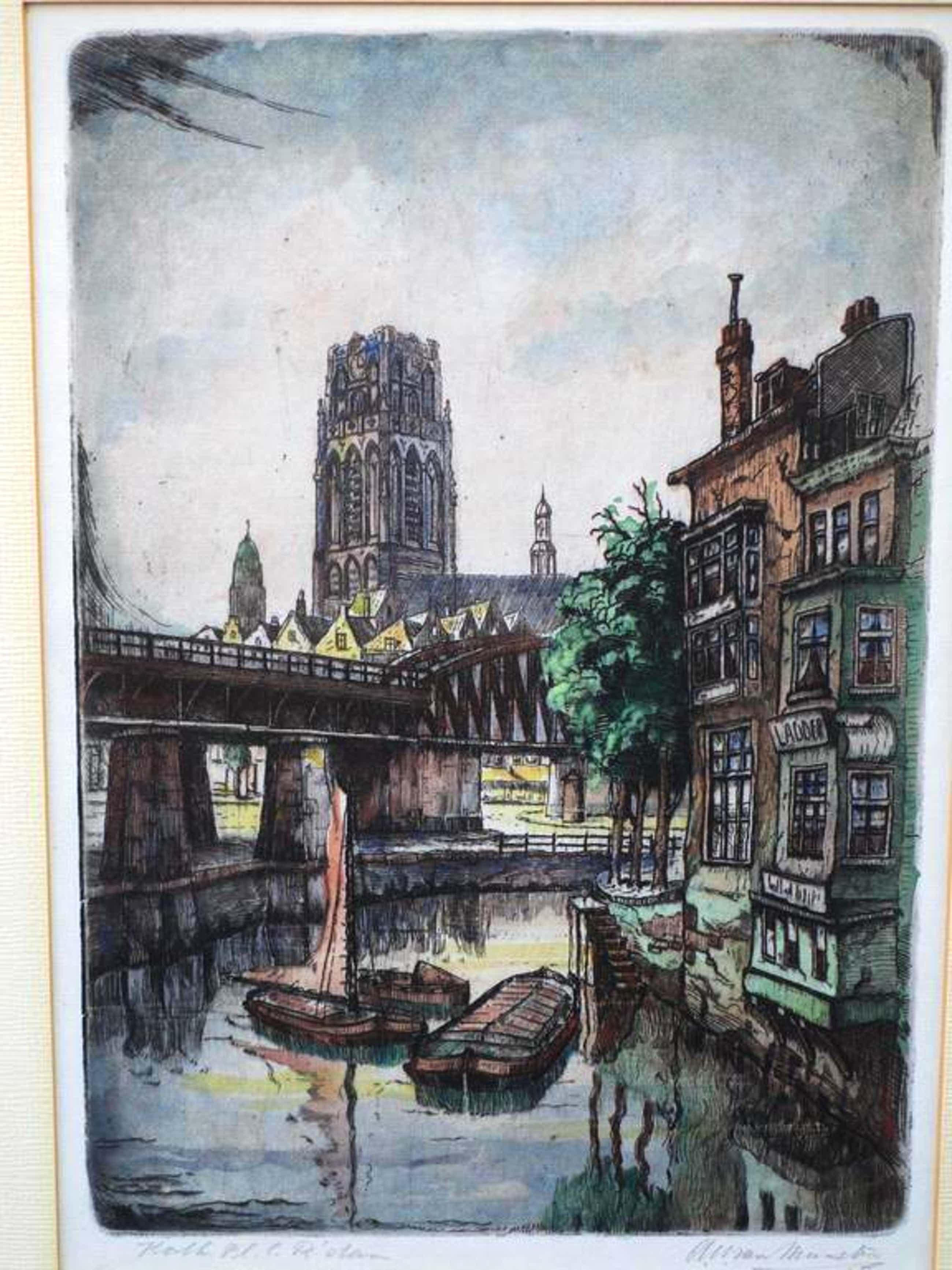 A.W.van Munster, Kolk Plan C Rotterdam, Kleurets kopen? Bied vanaf 35!