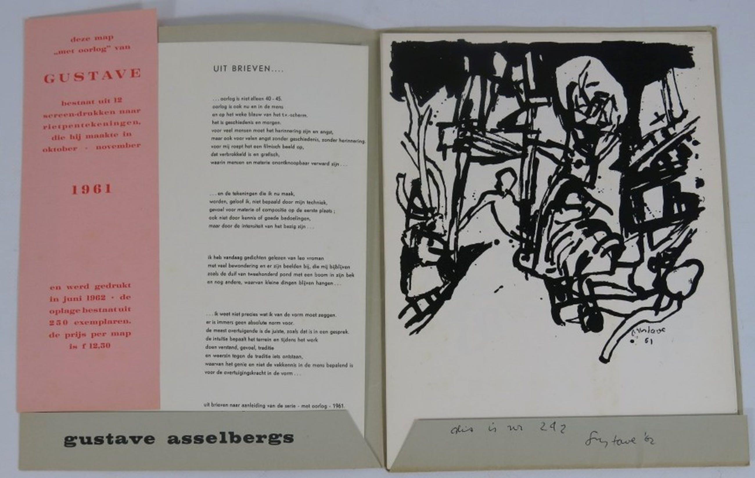 Gustave Asselbergs: Map met 13 zeefdrukken, Met Oorlog.  kopen? Bied vanaf 50!