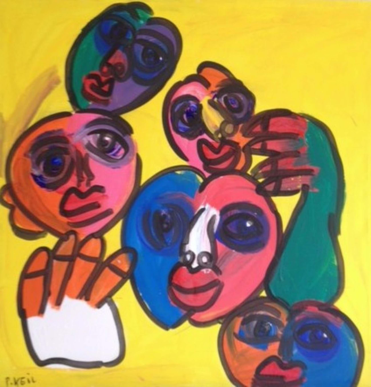 Peter Robert Keil, Acryl op Canvas, gezichten, groot xxl schilderij kopen? Bied vanaf 300!