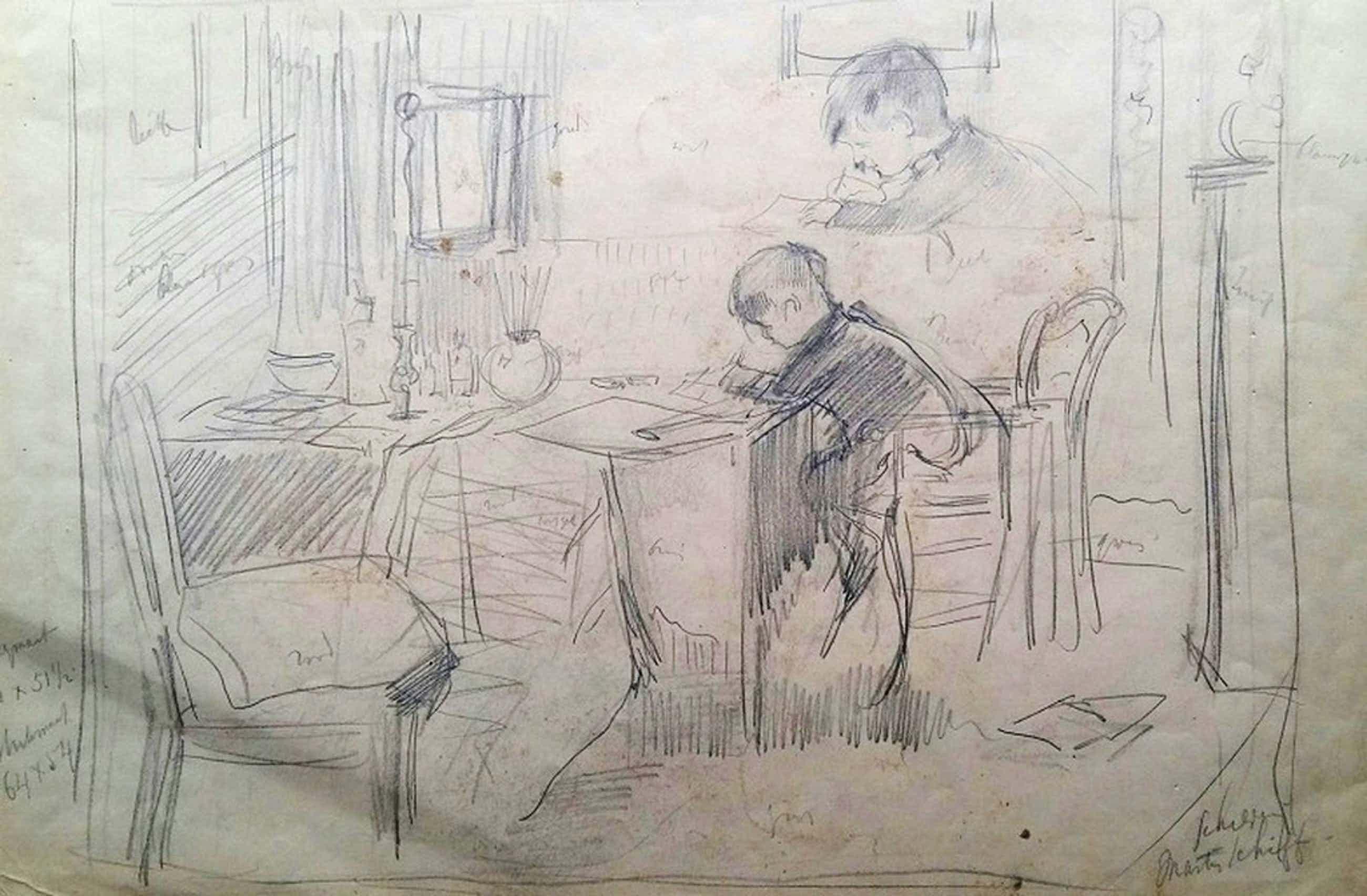 Saloman GARF (Amsterdam, 1879 - Auschwitz, 1943) Potloodtekening + litho kopen? Bied vanaf 40!