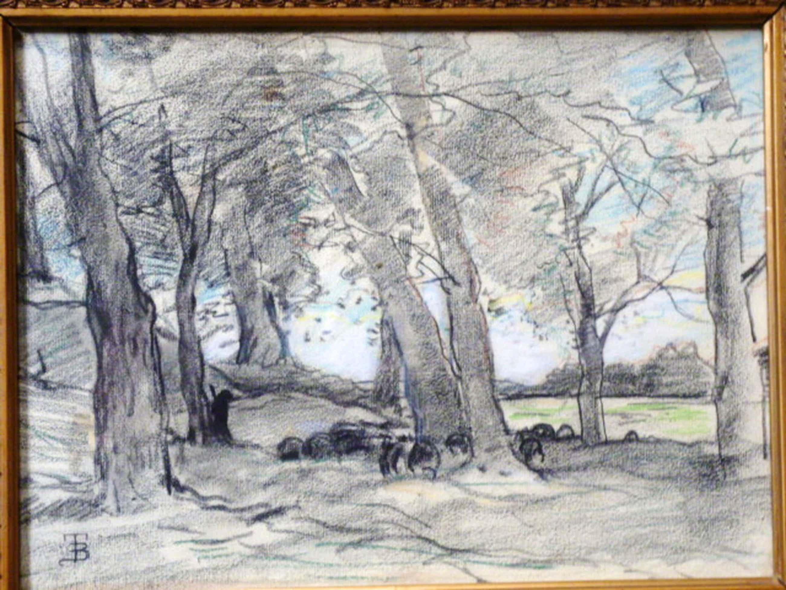 Theophile de Bock - tekening - Herder met kudde schapen kopen? Bied vanaf 375!
