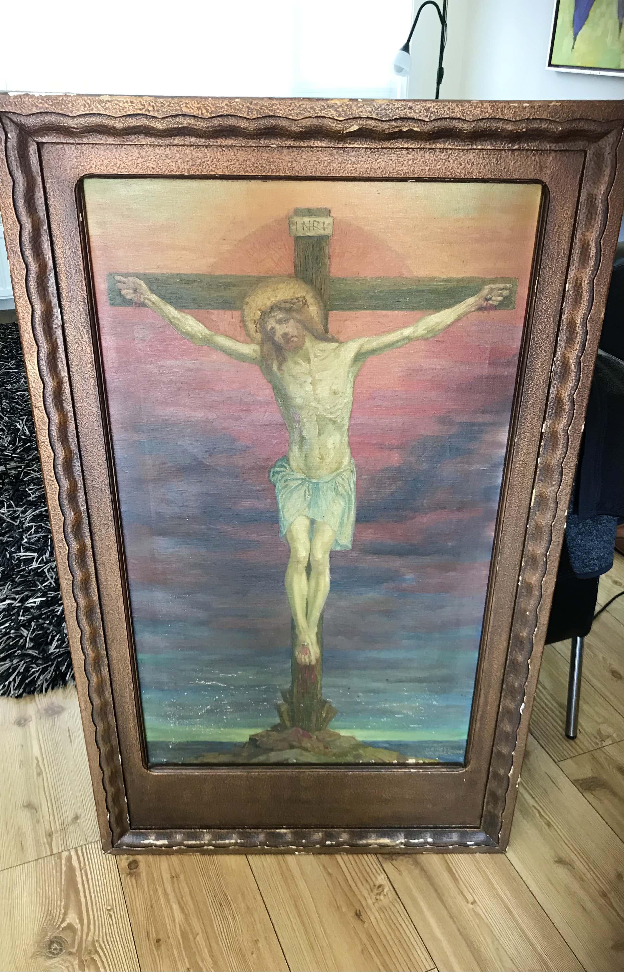 Karl Wenzel - Christusfigur am Kreuz, Öl auf Leinwand kopen? Bied vanaf 200!