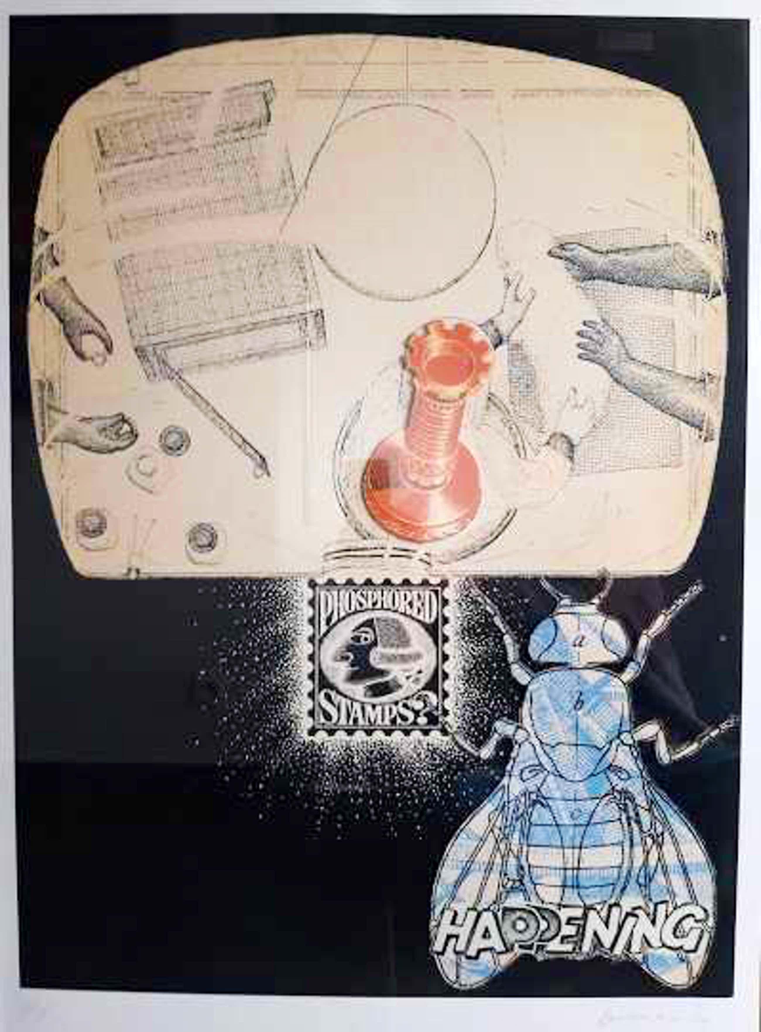 Panamarenko - Phosphored stamps, litho en collage, genummerd en ingelijst kopen? Bied vanaf 850!