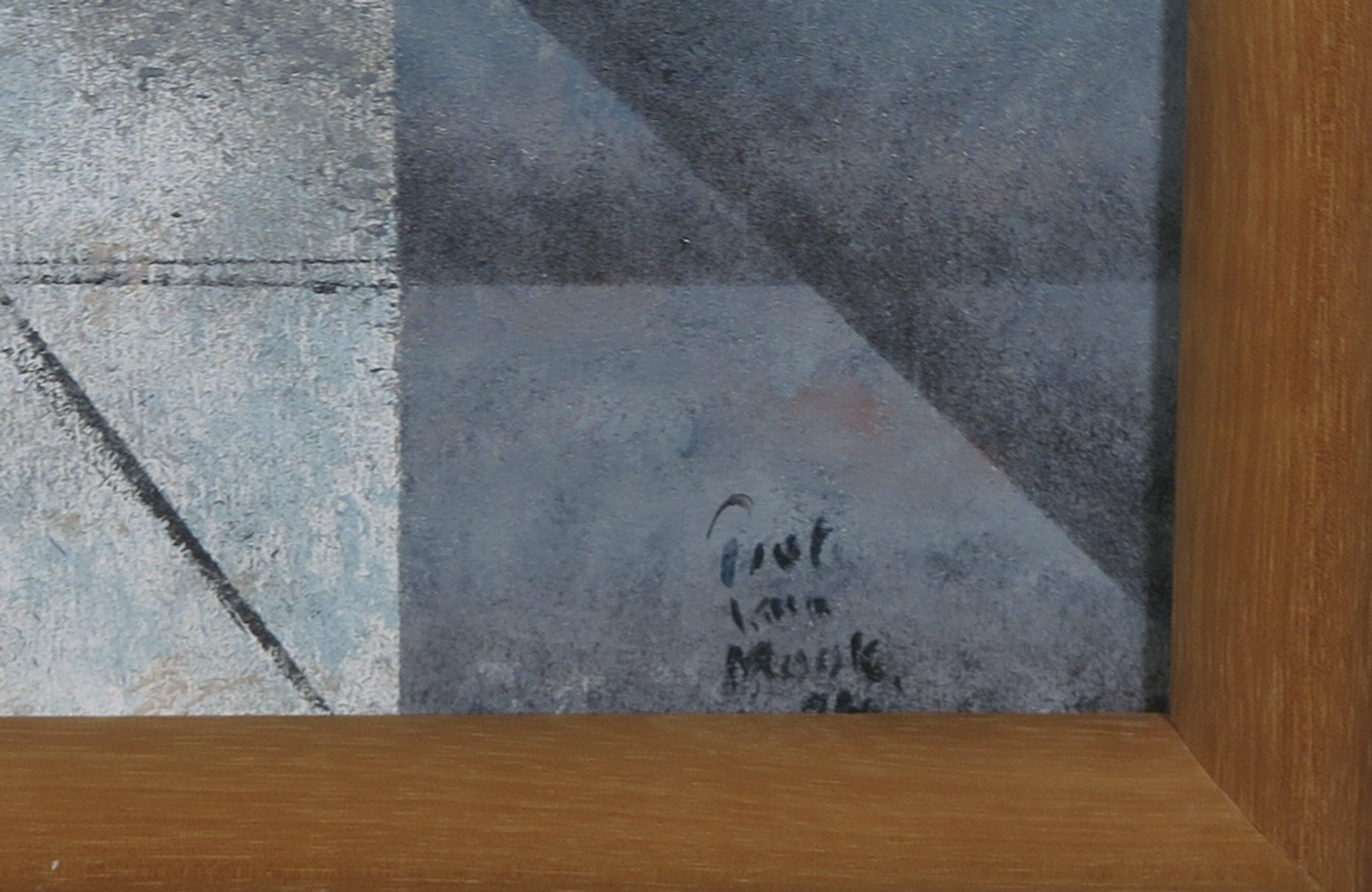 Piet van Mook - Acryl op paneel, Geometrisch-illusionistisch interieur - Ingelijst kopen? Bied vanaf 100!