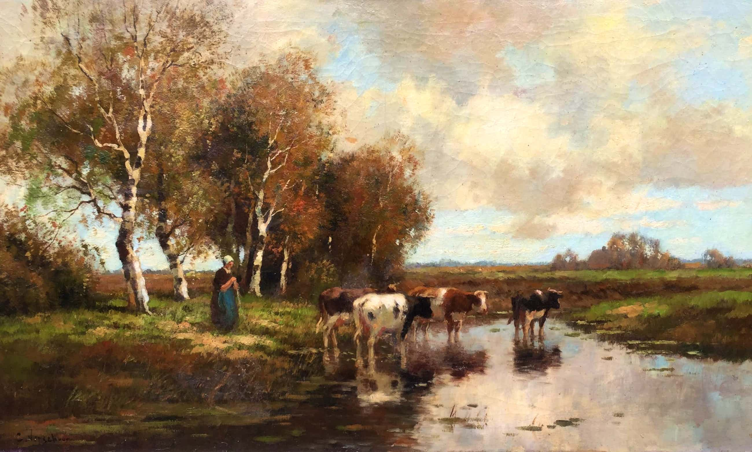 Cor Bouter - C4909, Polderlandschap met koeien en boerin kopen? Bied vanaf 1500!