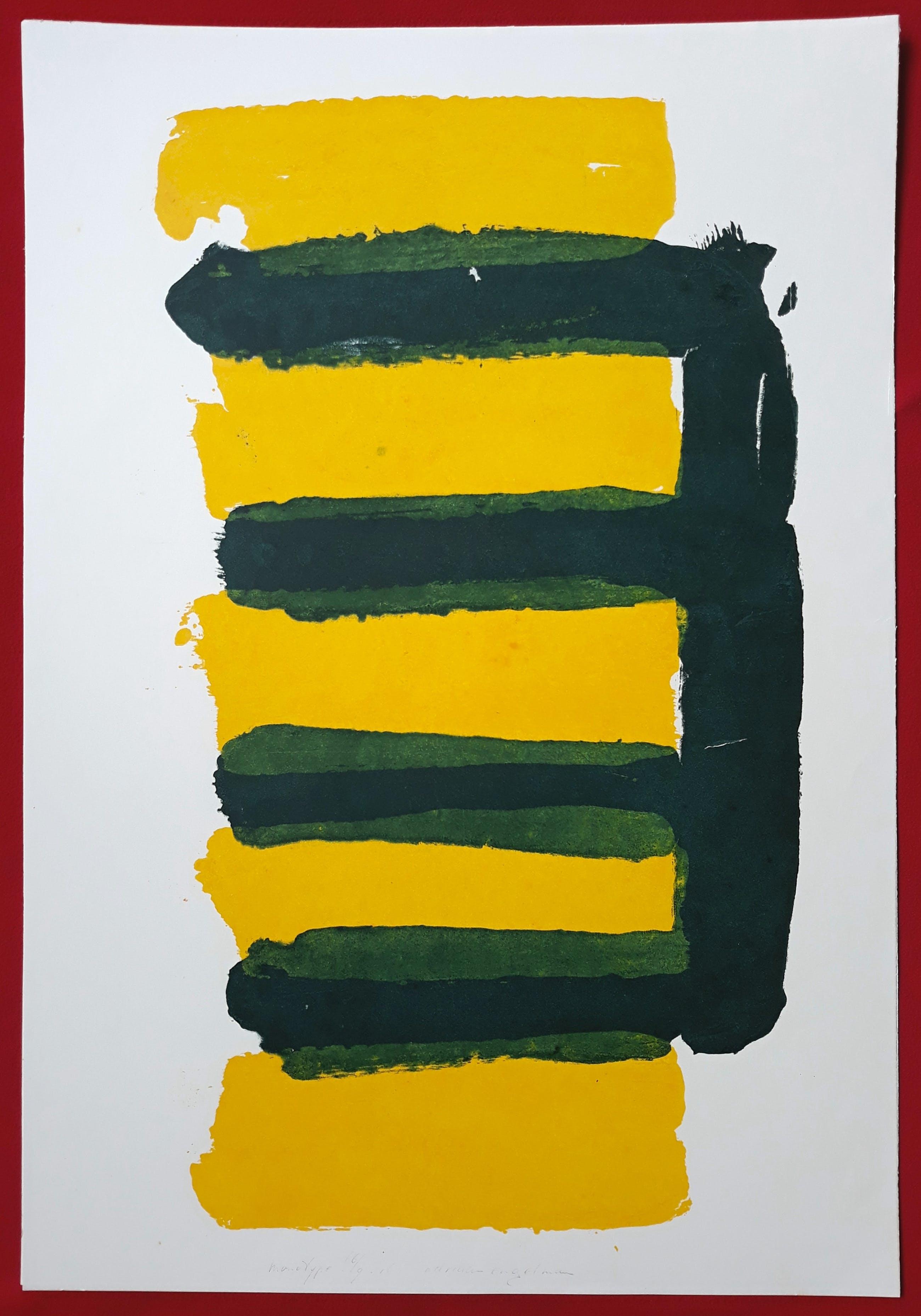 Adine Engelman - Abstracte compositie, monotype kopen? Bied vanaf 75!