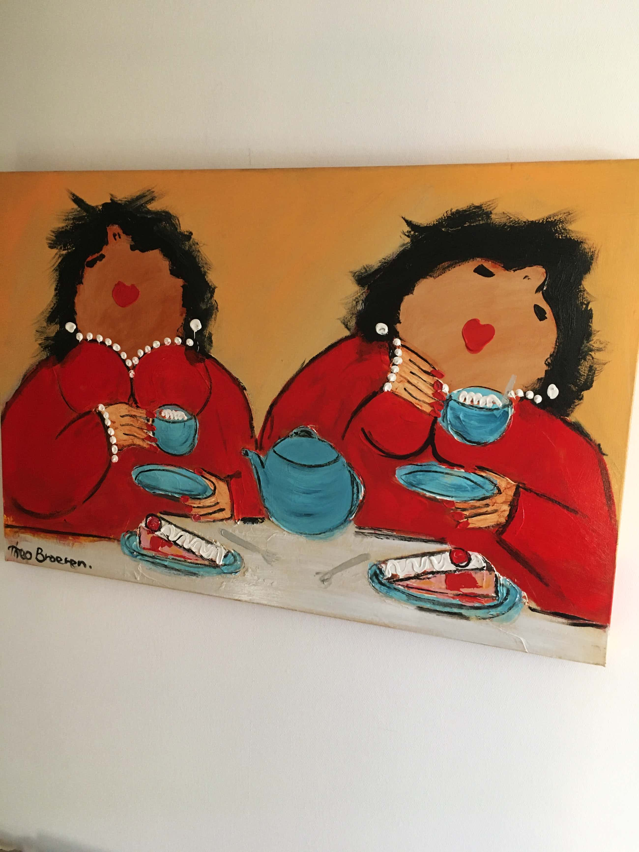 Theo Broeren - Acryl op doek ' Tea in Blue ' ( GROOT ) kopen? Bied vanaf 150!