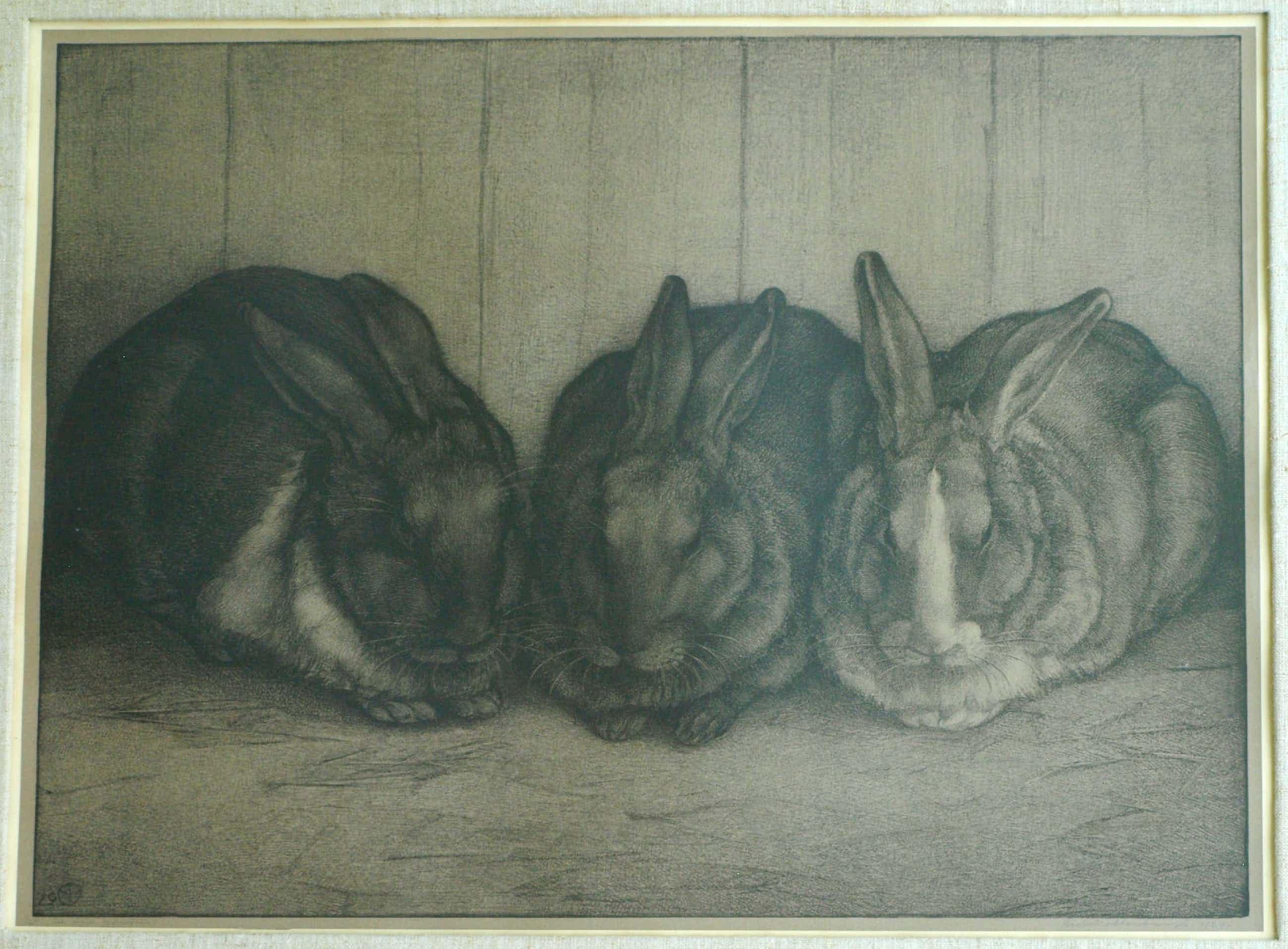 Aart van Dobbenburgh - Ingelijste litho , De drie konijnen – 1929 – nr 1 van 25 ex. kopen? Bied vanaf 60!