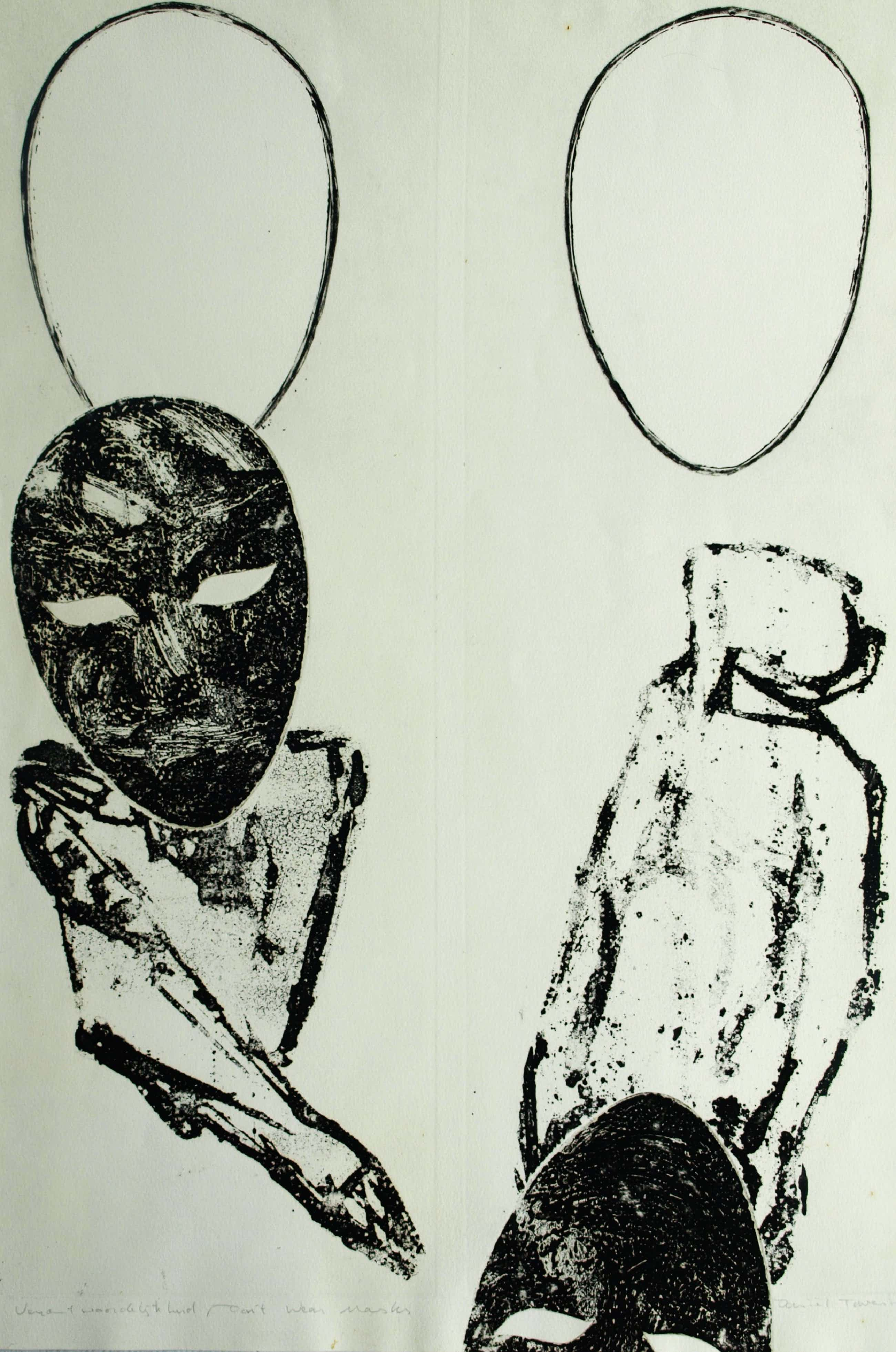 Daniel Tavenier - Don't Wear Masks , ets?, litho?, houtsnede? – 1991 – oplage 25 ex. kopen? Bied vanaf 30!