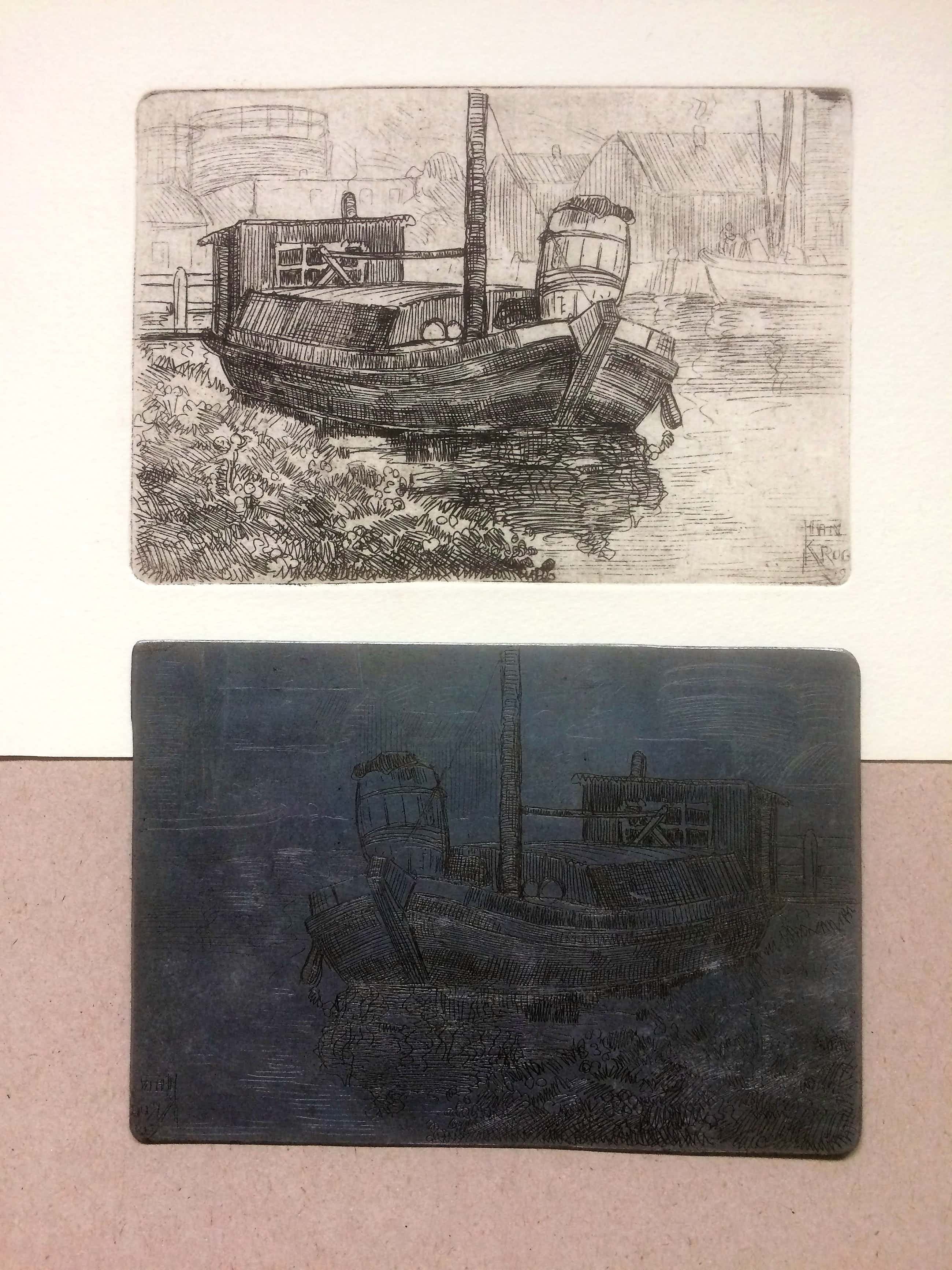 Han Krug - Drie originele etsplaten en afdruk 1919 kopen? Bied vanaf 75!