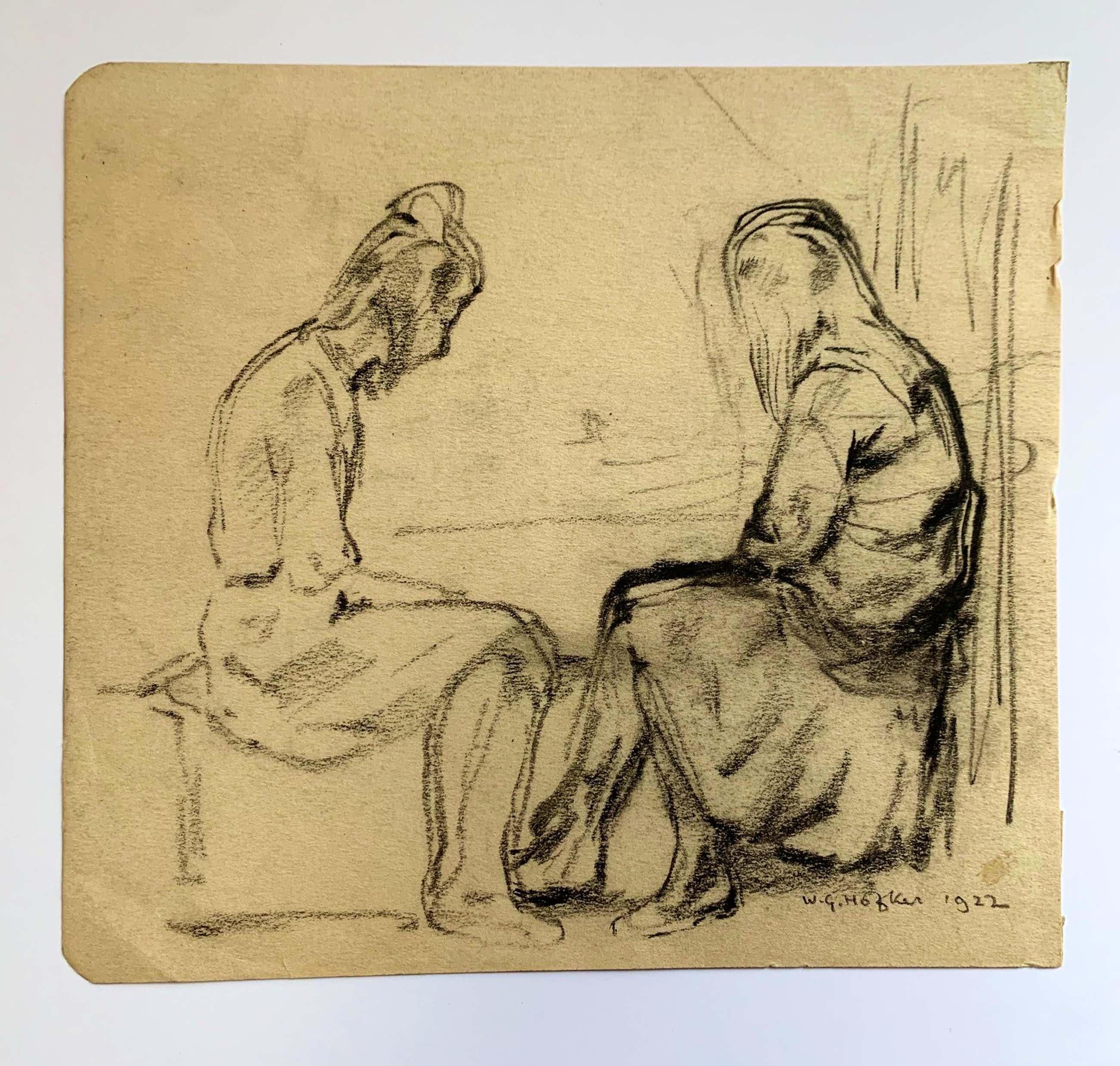 Willem Gerard Hofker - Twee figuren op een bank kopen? Bied vanaf 180!