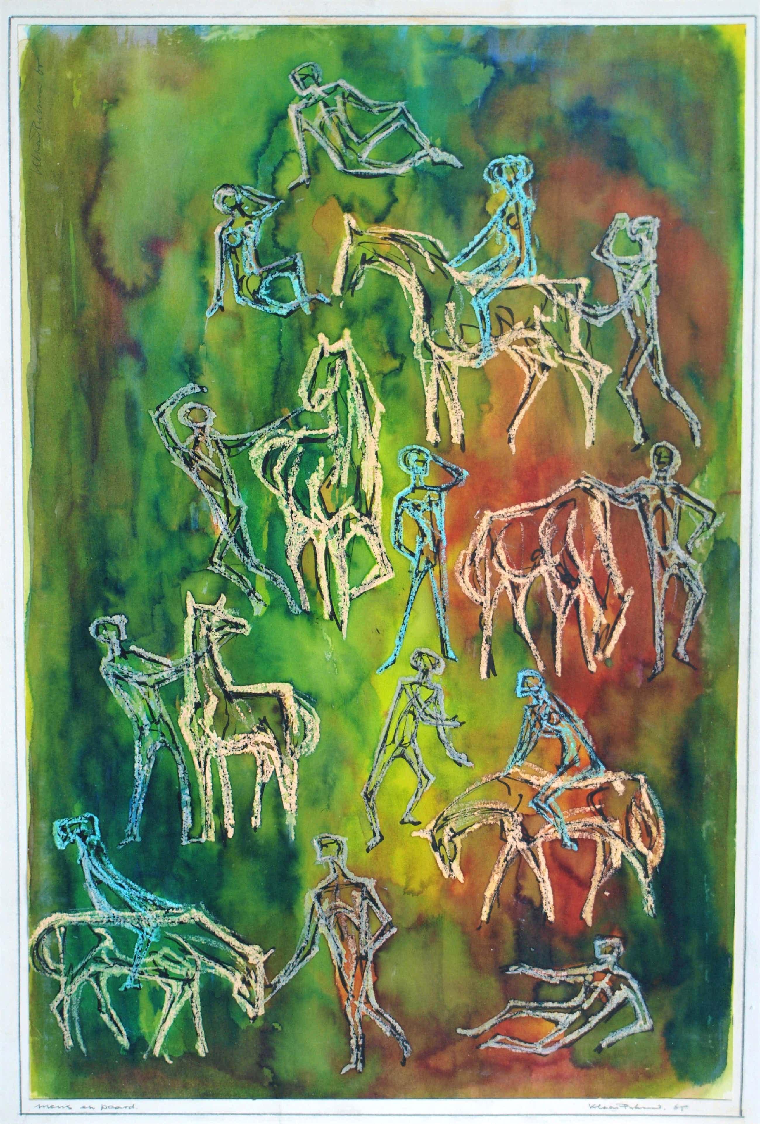 "Klaas Pijlman - Gemengde techniek , ""Mens en Paard"" – 1965 – 60 x 40 cm kopen? Bied vanaf 80!"