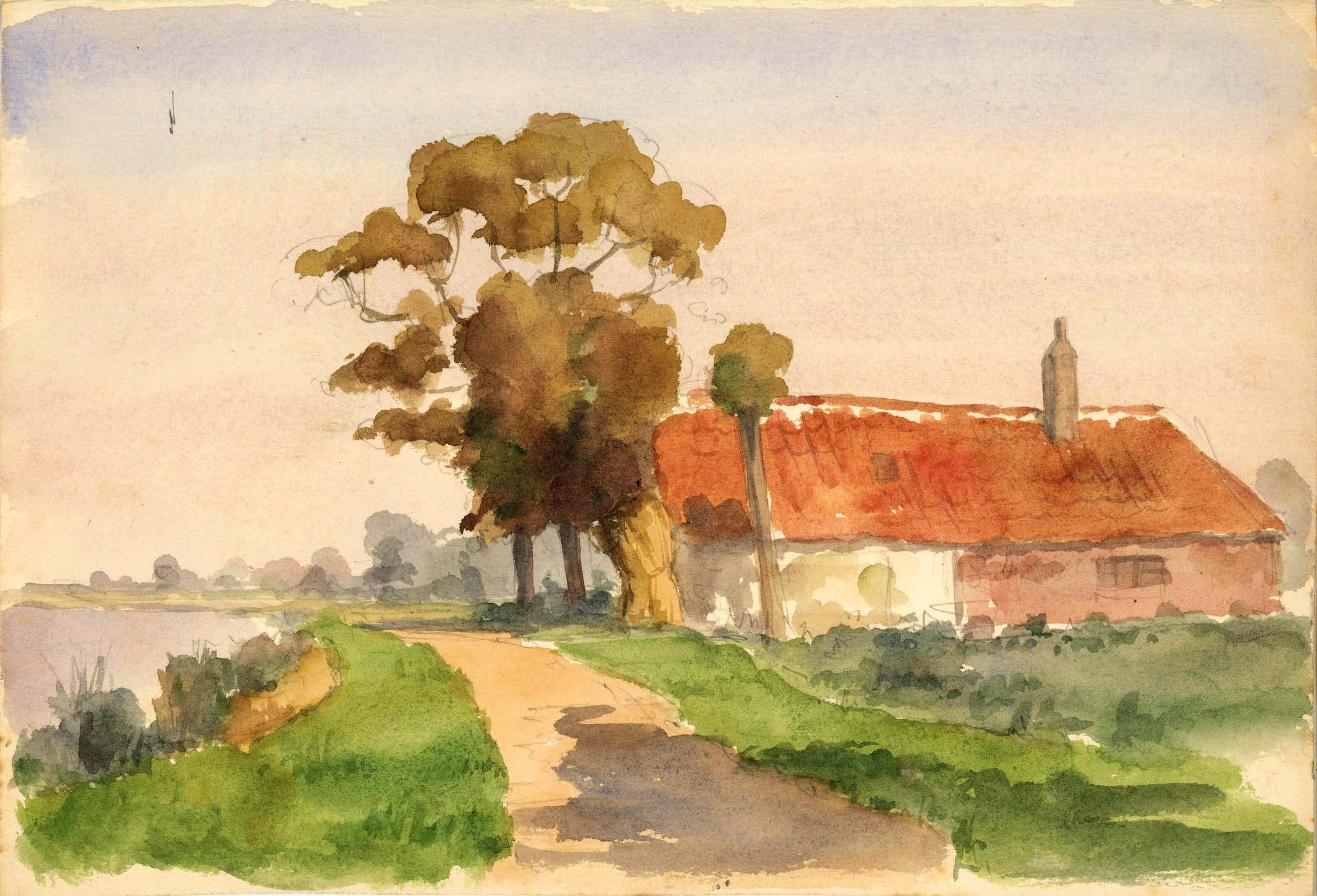 Johannes Hessel Brolsma - aquarel 'landschap in zonlicht' - 21543 kopen? Bied vanaf 65!