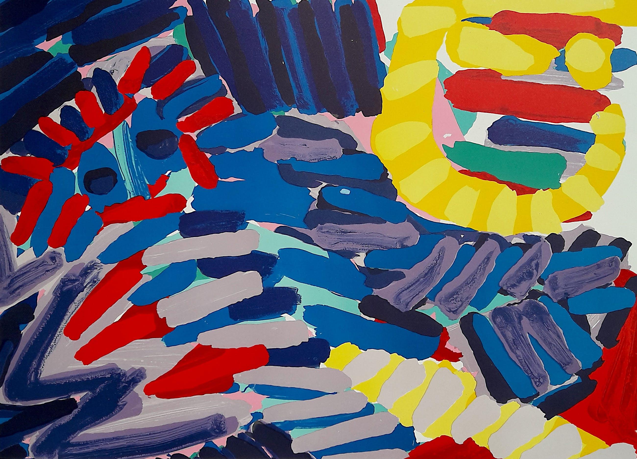 Karel Appel - Blue Animal with Sunshine Head, litho kopen? Bied vanaf 550!