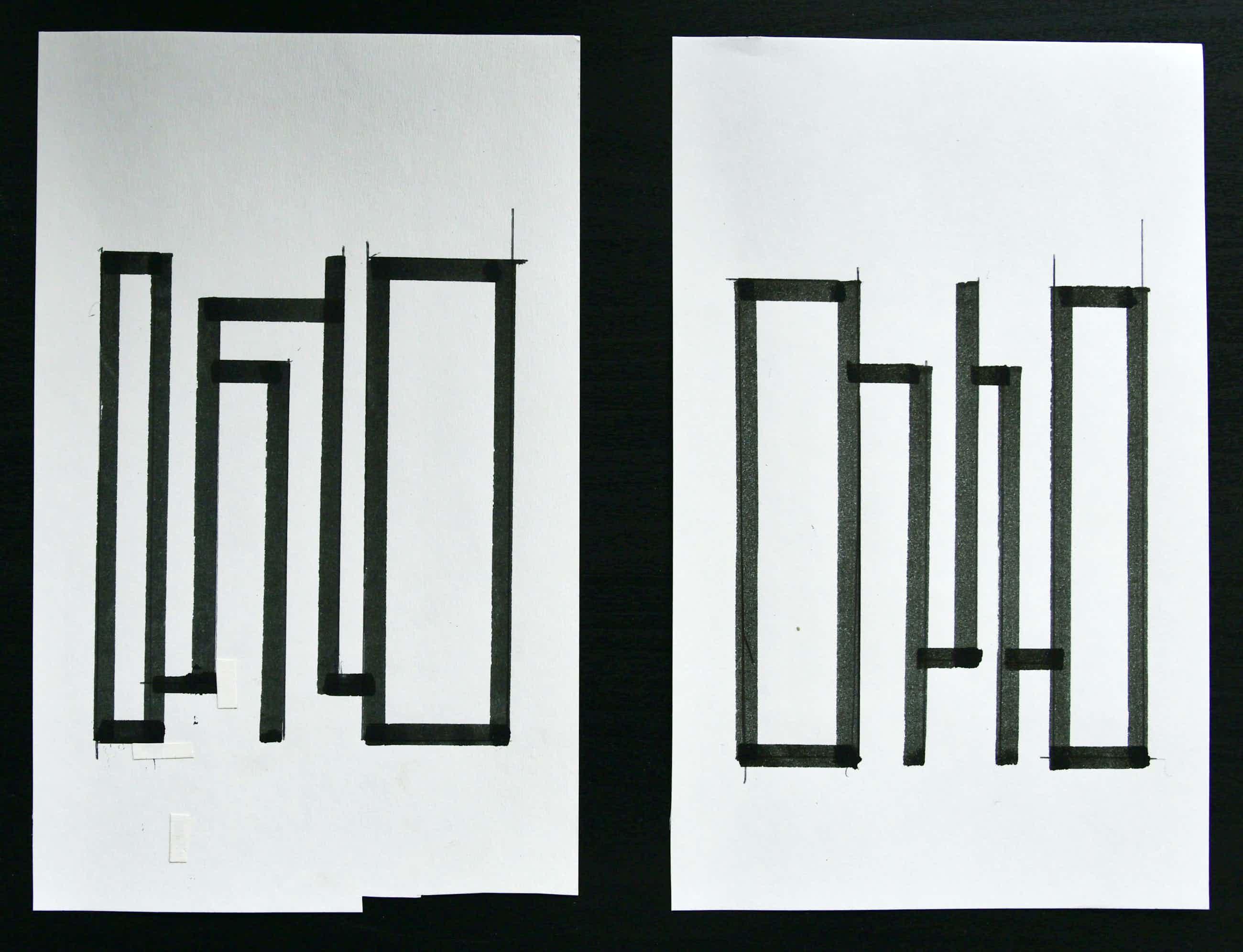 Siep van den Berg - SET 2 Pentekeningen# ABSTRACTE COMPOSITIES # potlood en inkt, 1990 kopen? Bied vanaf 48!