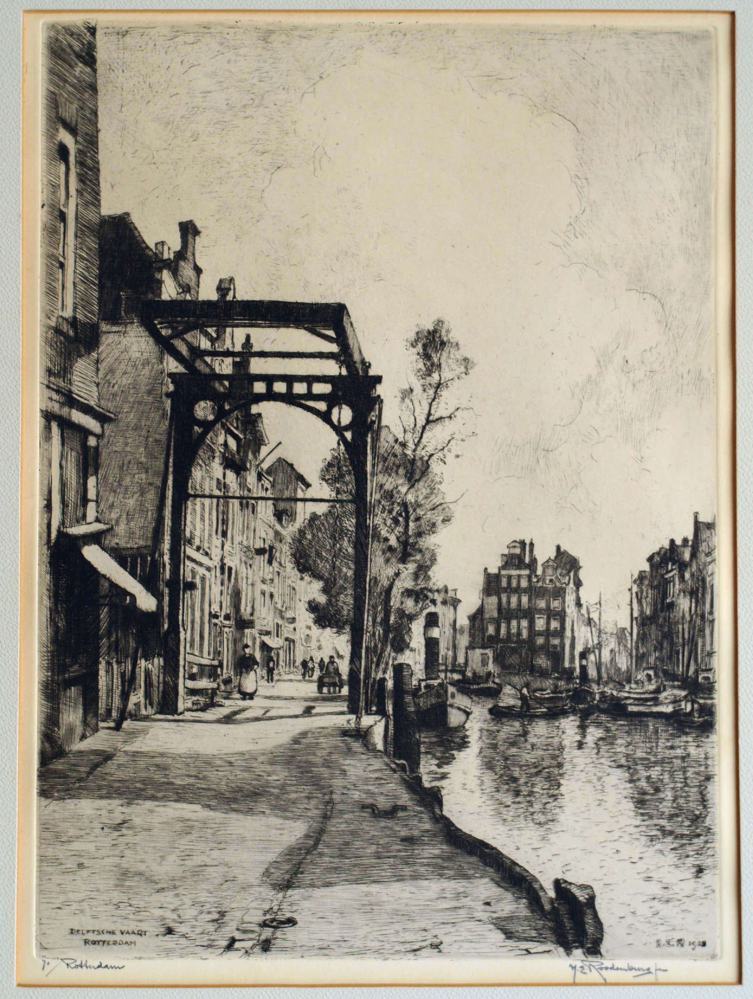 """Hendrikus Roodenburg - Ets, """"Delftsche Vaart Rotterdam"""" - 1925 kopen? Bied vanaf 45!"""