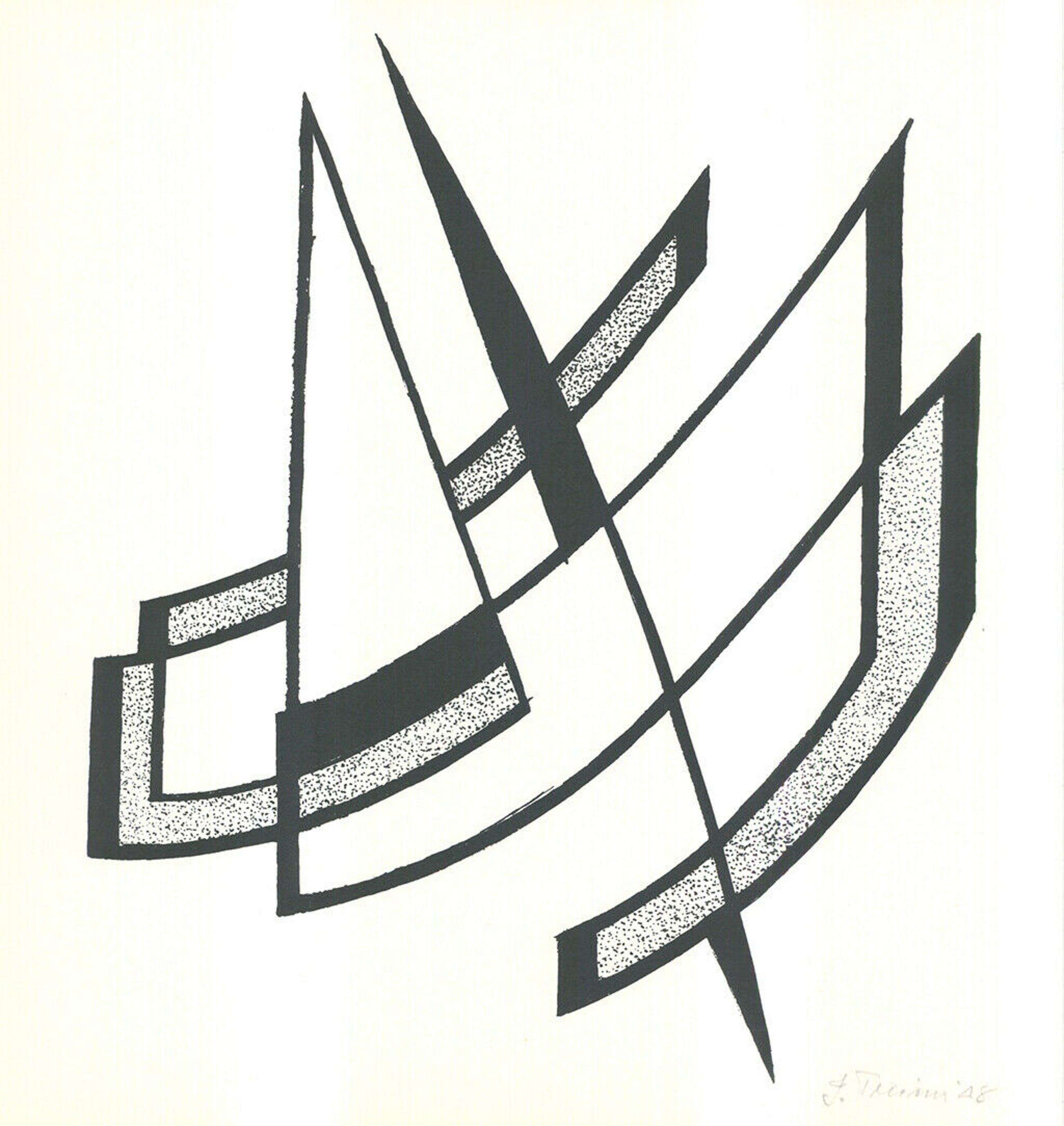 Italo Primi - Handgesigneerde lithografie: Geometrische Compositie kopen? Bied vanaf 17!