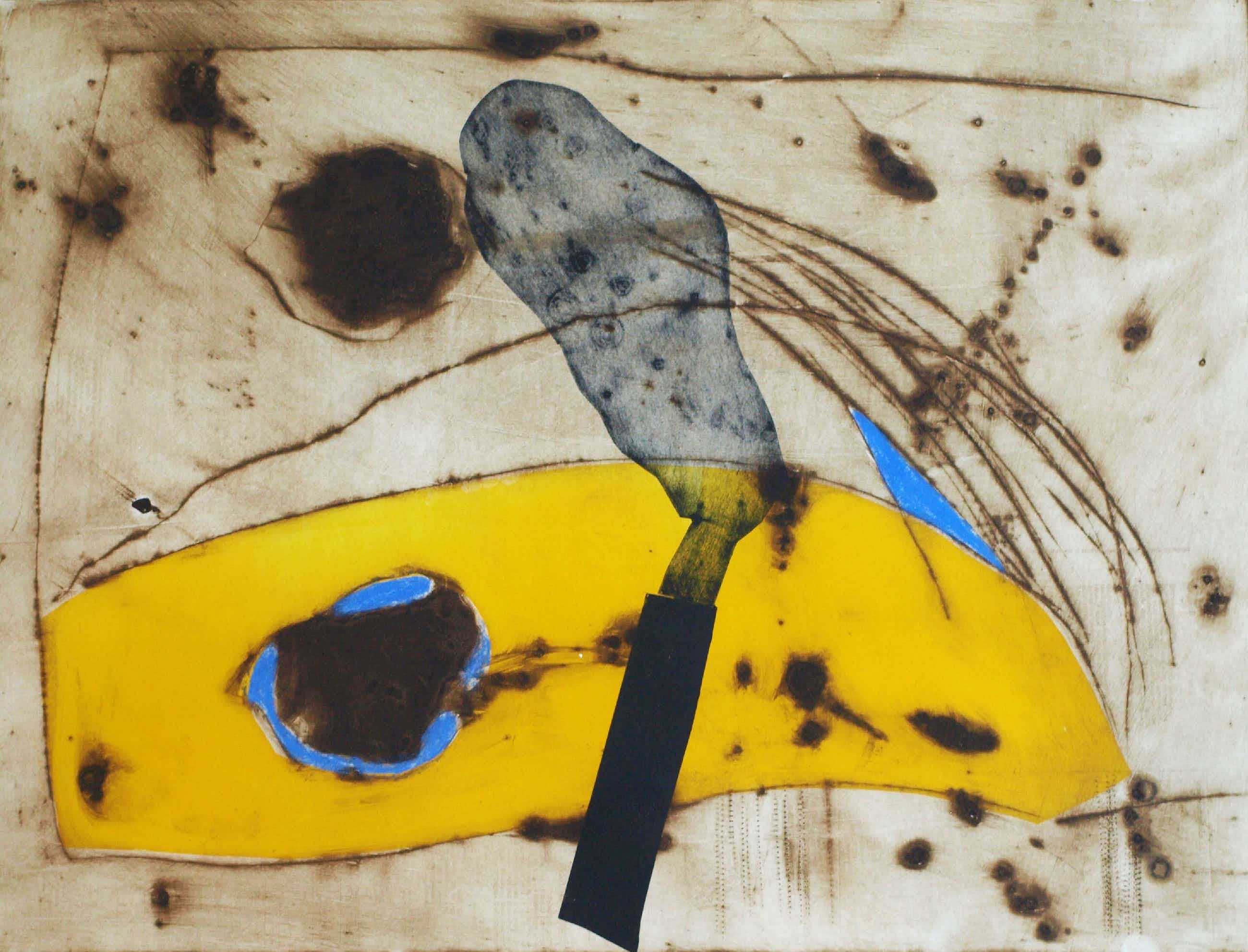 Anneke van der Mandele - Ets , Compositie met Geel - gesigneerd & ingelijst - 1995 kopen? Bied vanaf 45!