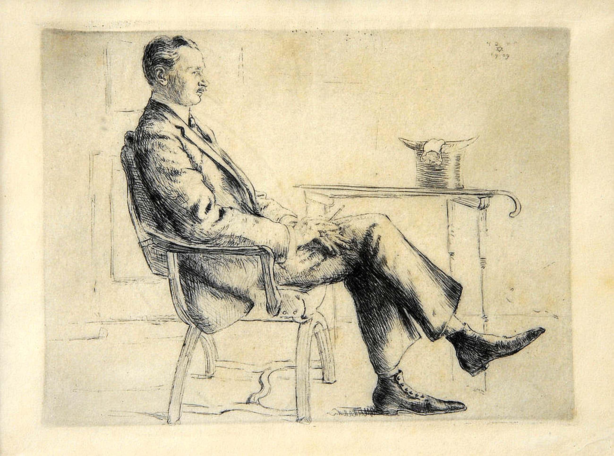 Hermann Struck - Bildnis des Schriftstellers Felix Poppenberg 1909 kopen? Bied vanaf 270!