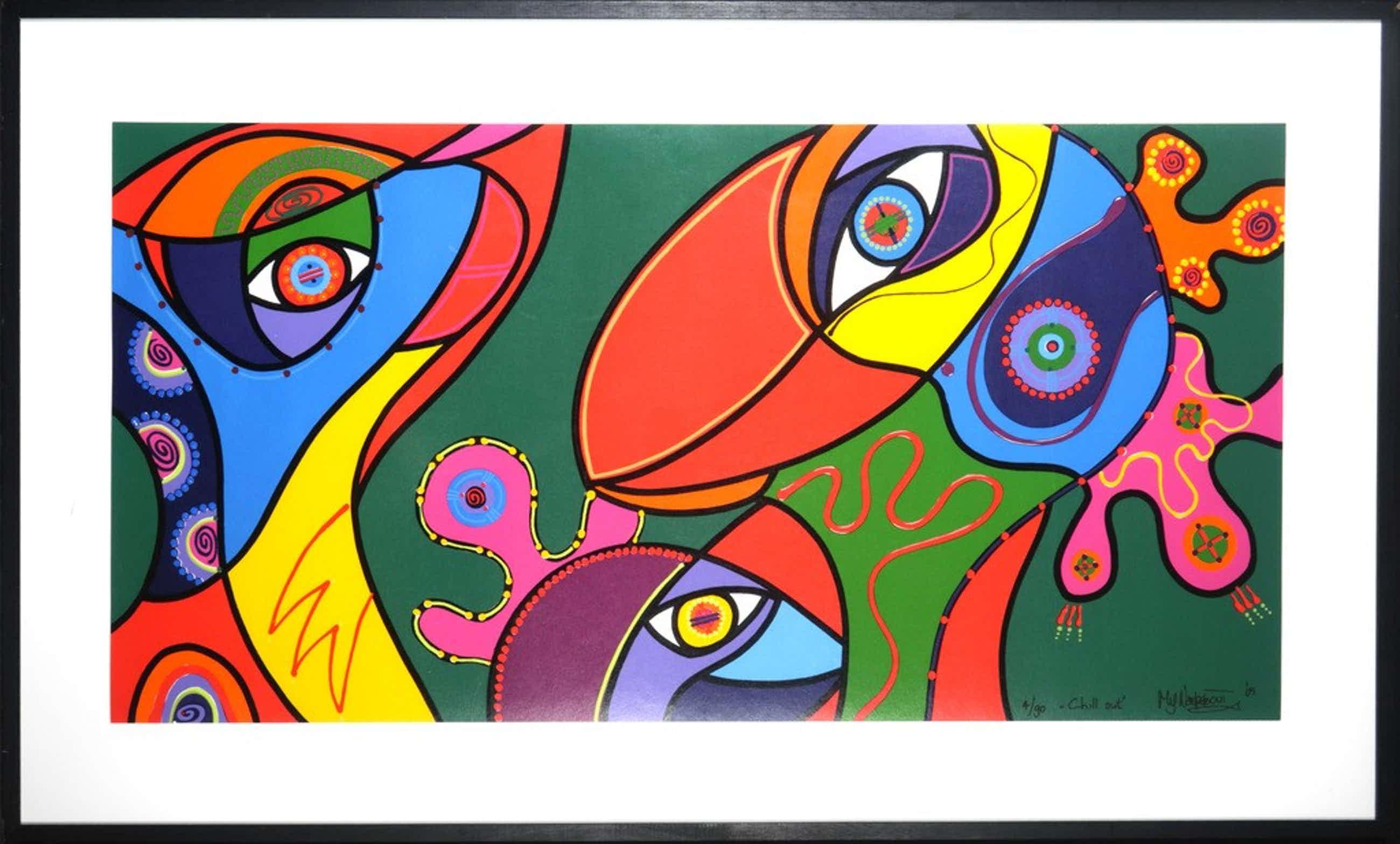 Marianne Naerebout - Kleurenzeefdruk CHILL OUT INGELIJST(groot)!! kopen? Bied vanaf 325!
