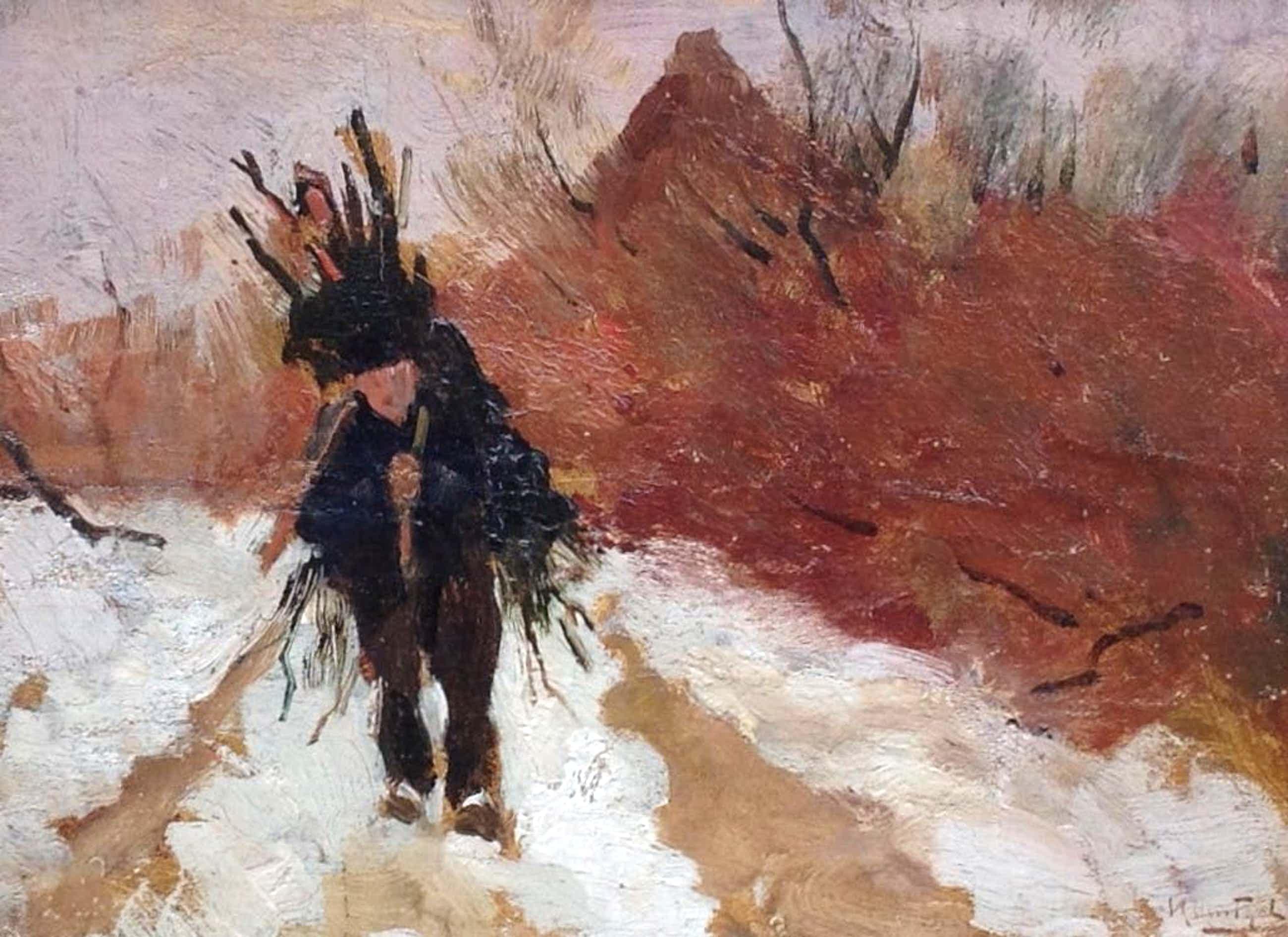 Hendrik Otto van Thol - Sneeuwlandschap met houtsprokkelaar, marouflé kopen? Bied vanaf 500!