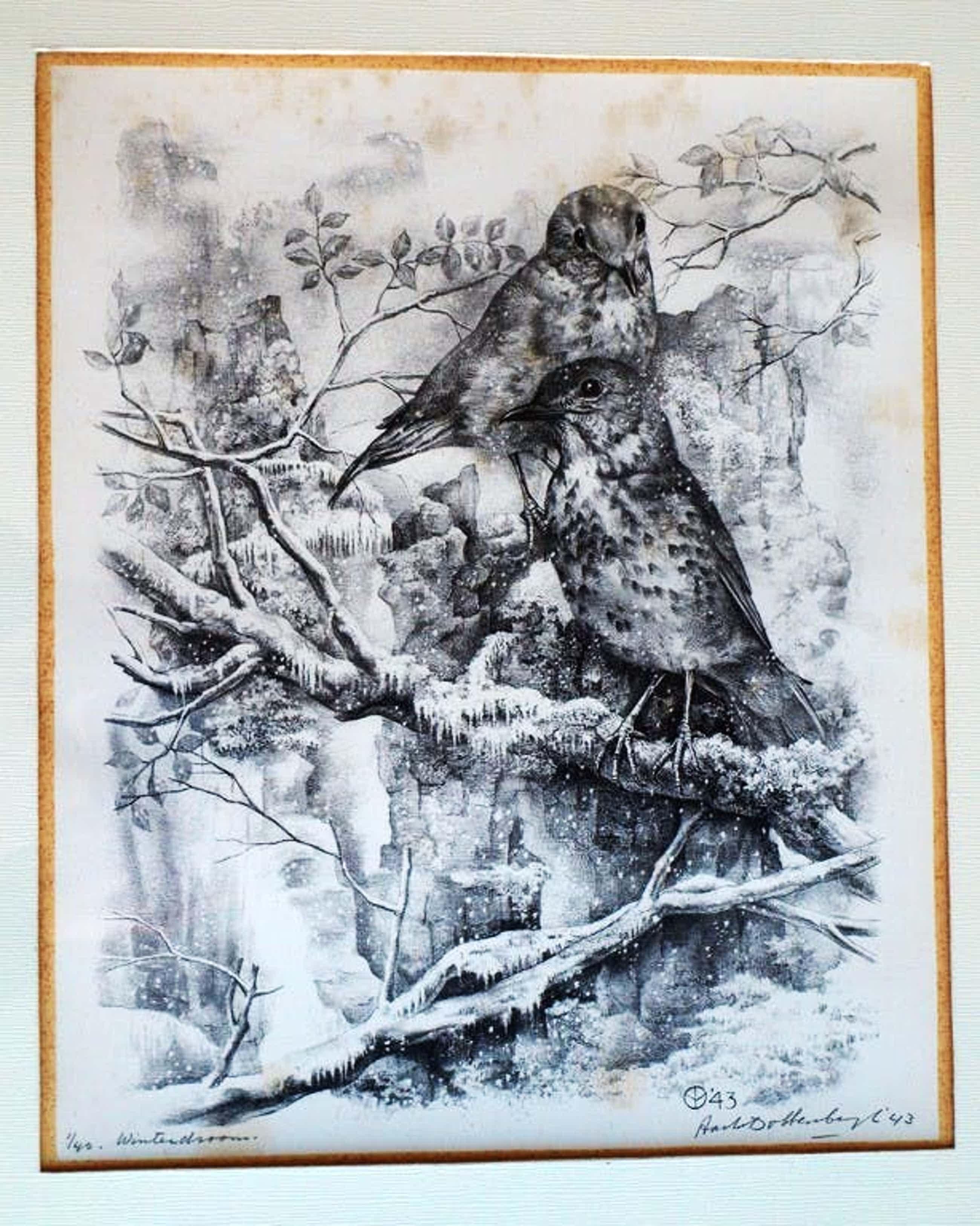Aart van Dobbenburgh - Litho , Winterdroom – ingelijst – 1943 – nr 1 van 40 kopen? Bied vanaf 50!