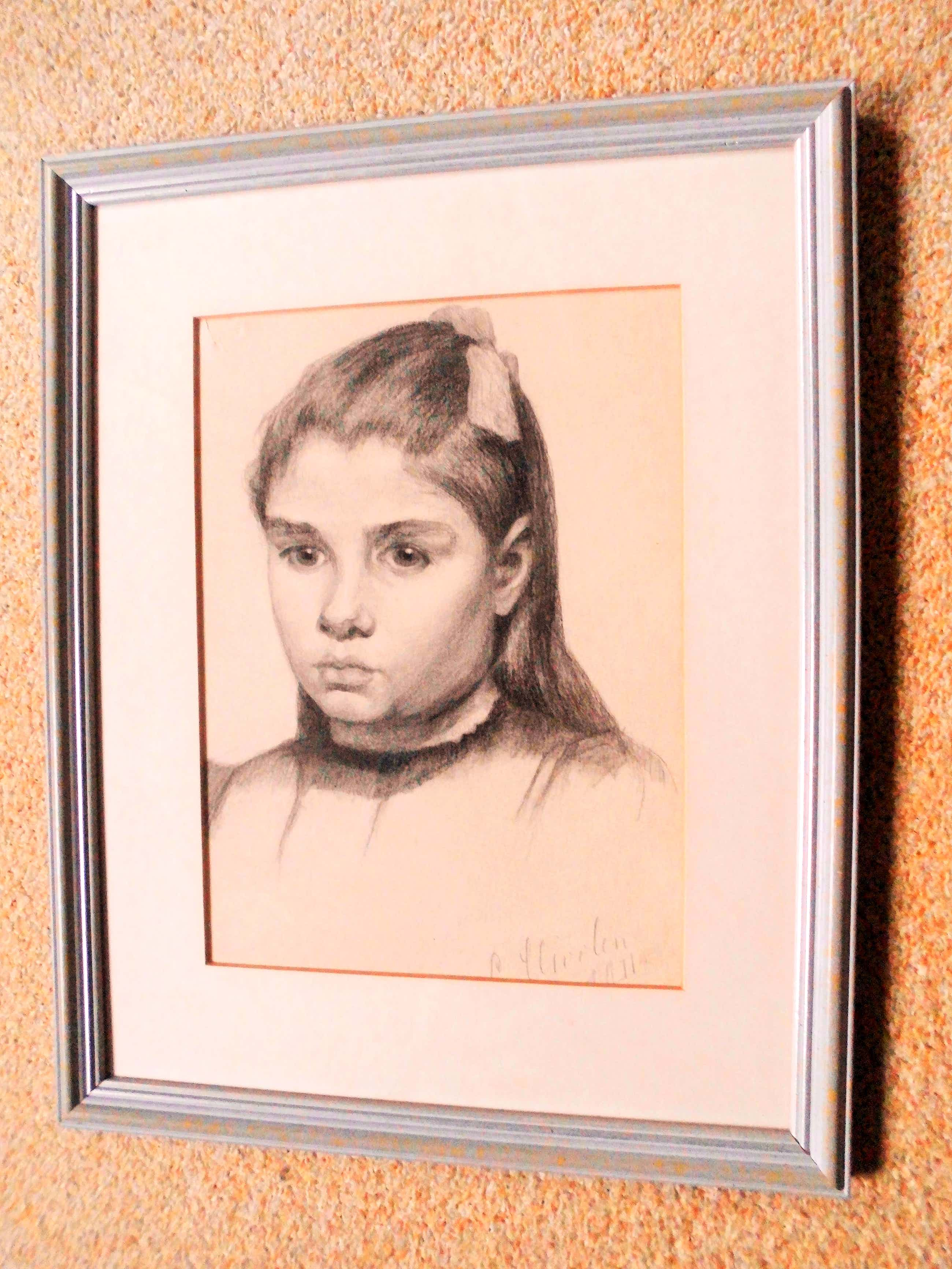 Cornelia Hioolen - Potloodtekening - Meisjesportret kopen? Bied vanaf 25!