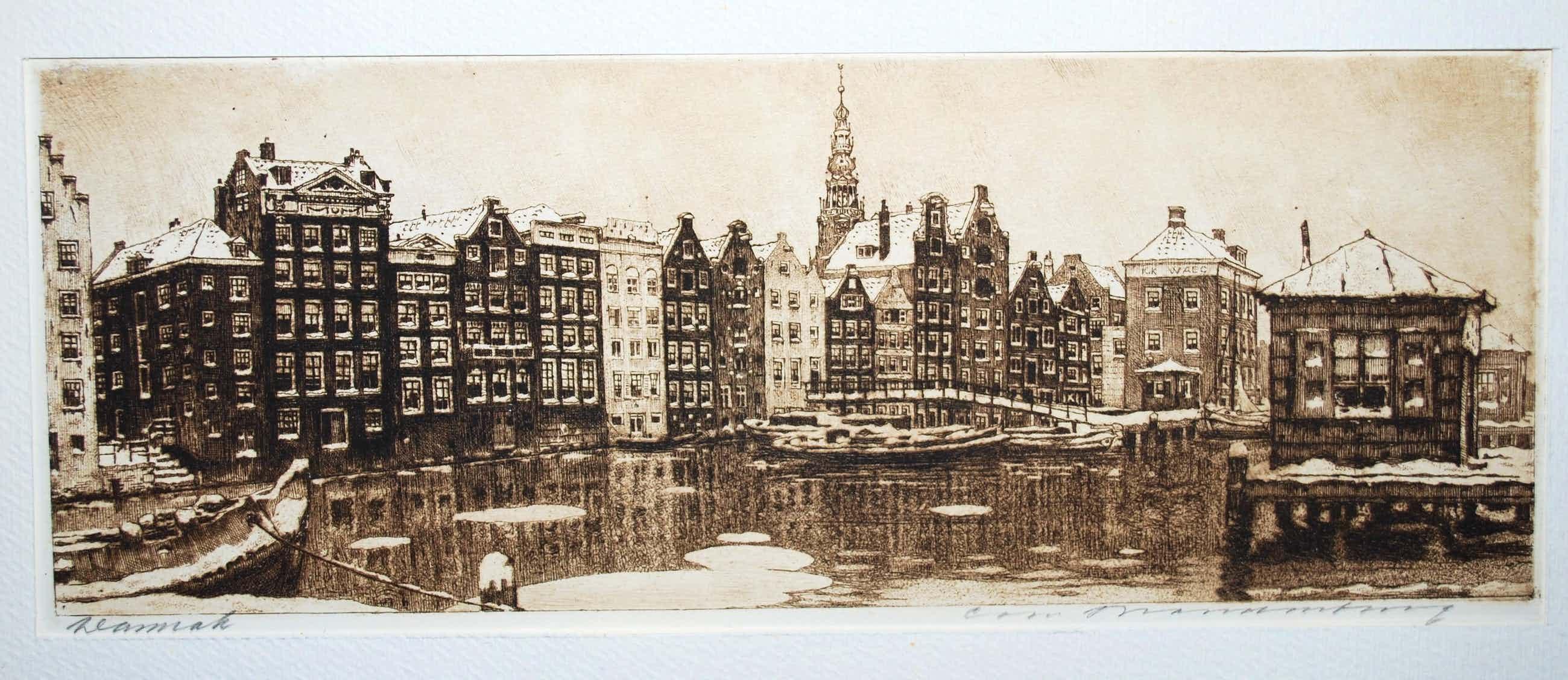 Cornelis Brandenburg - Amsterdam, het Damrak in de winter - heldere ets kopen? Bied vanaf 85!