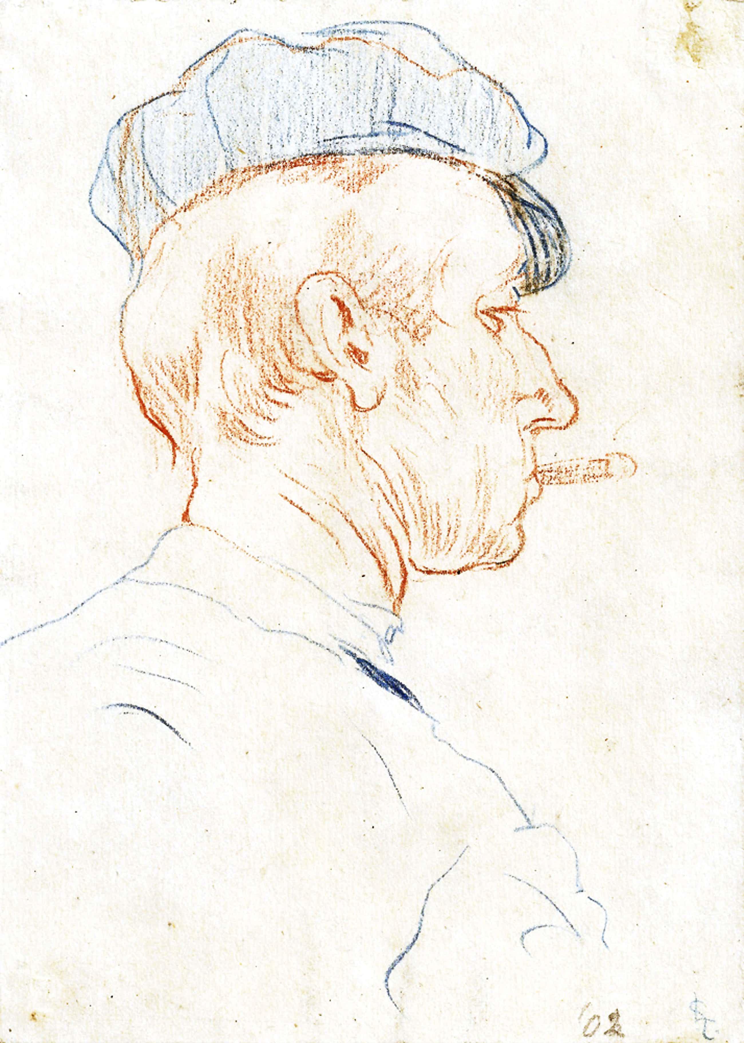 Leo Gestel - Hoofd van een man met pet en sigaret in de mond kopen? Bied vanaf 300!