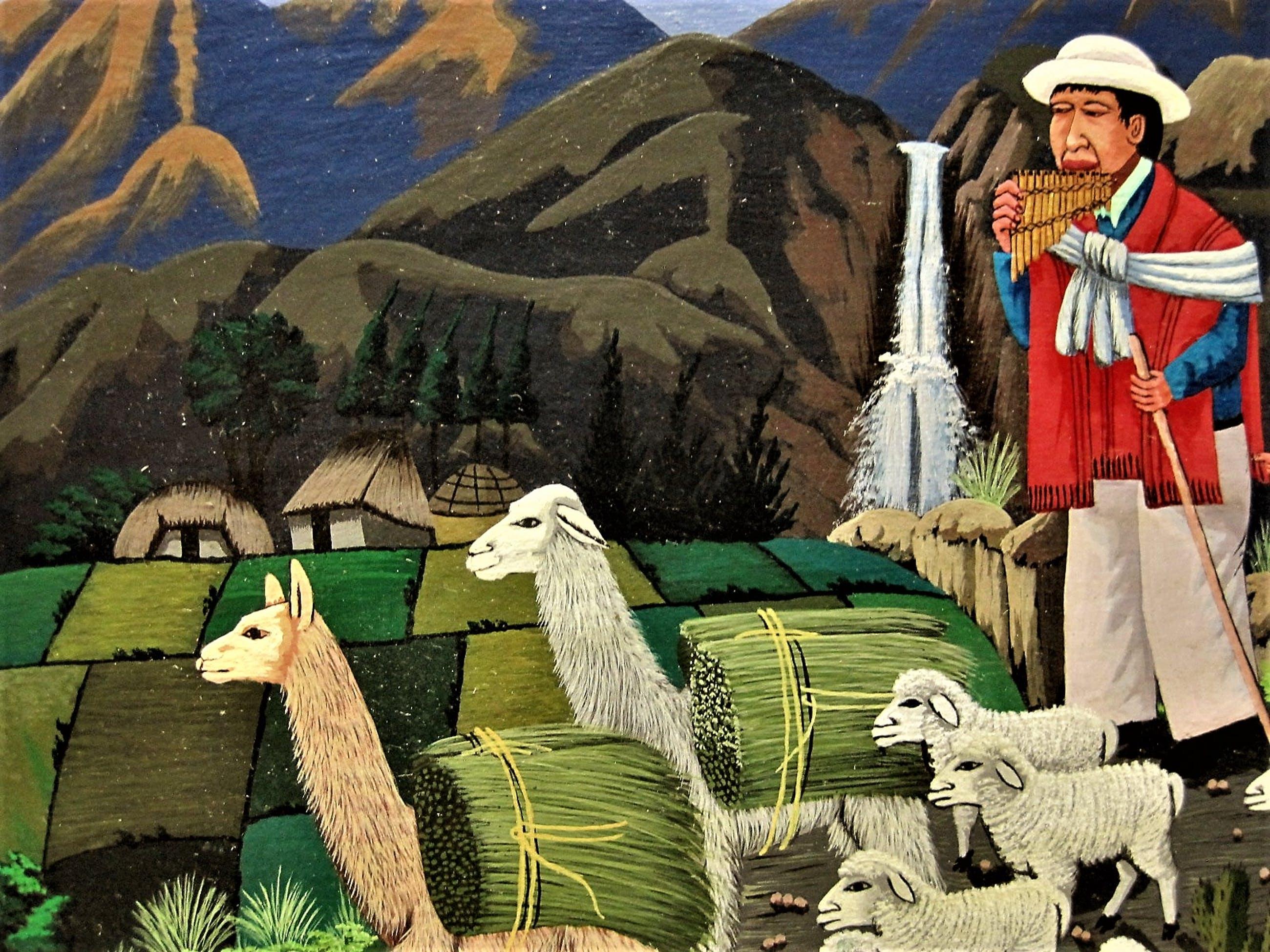 """Niet of onleesbaar gesigneerd - Bijzonder Zuid Amerikaans olieverf """"Equador - familie in de bergen"""" gesigneerd kopen? Bied vanaf 1!"""