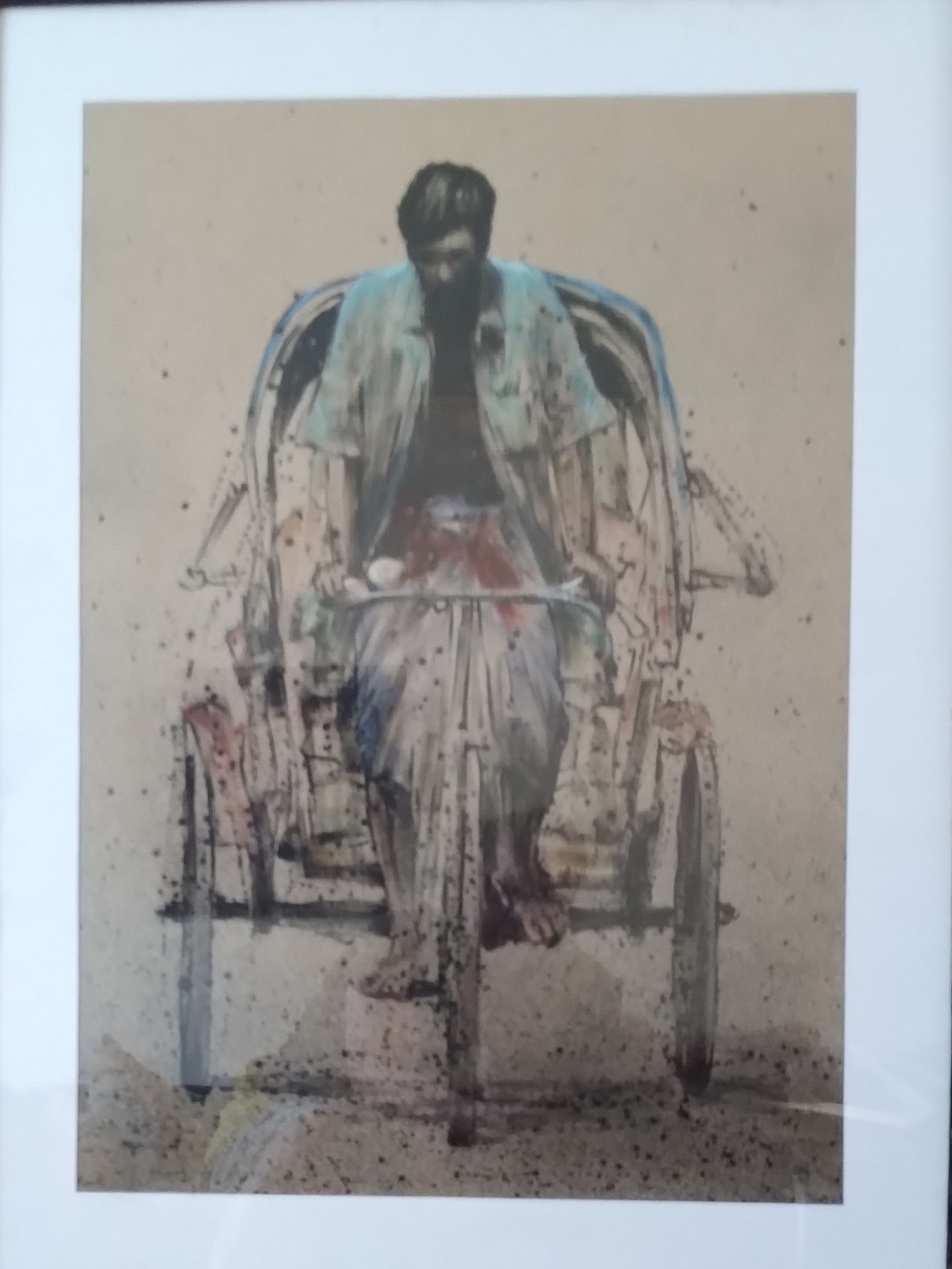 Niet of onleesbaar gesigneerd - origineel, sfeervol beeld van fietsende man, kleurrijk weergegeven kopen? Bied vanaf 1!