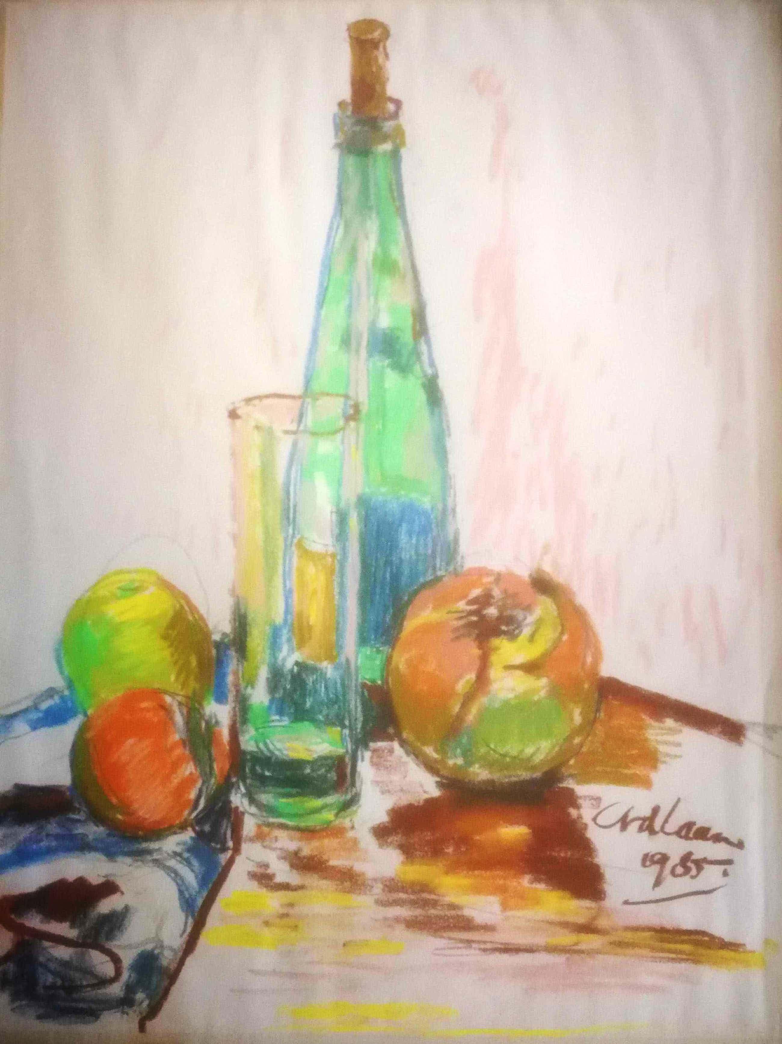 Conny van der Laan-van den Ende - Stilleven. Fles, glas, fruit. kopen? Bied vanaf 59!