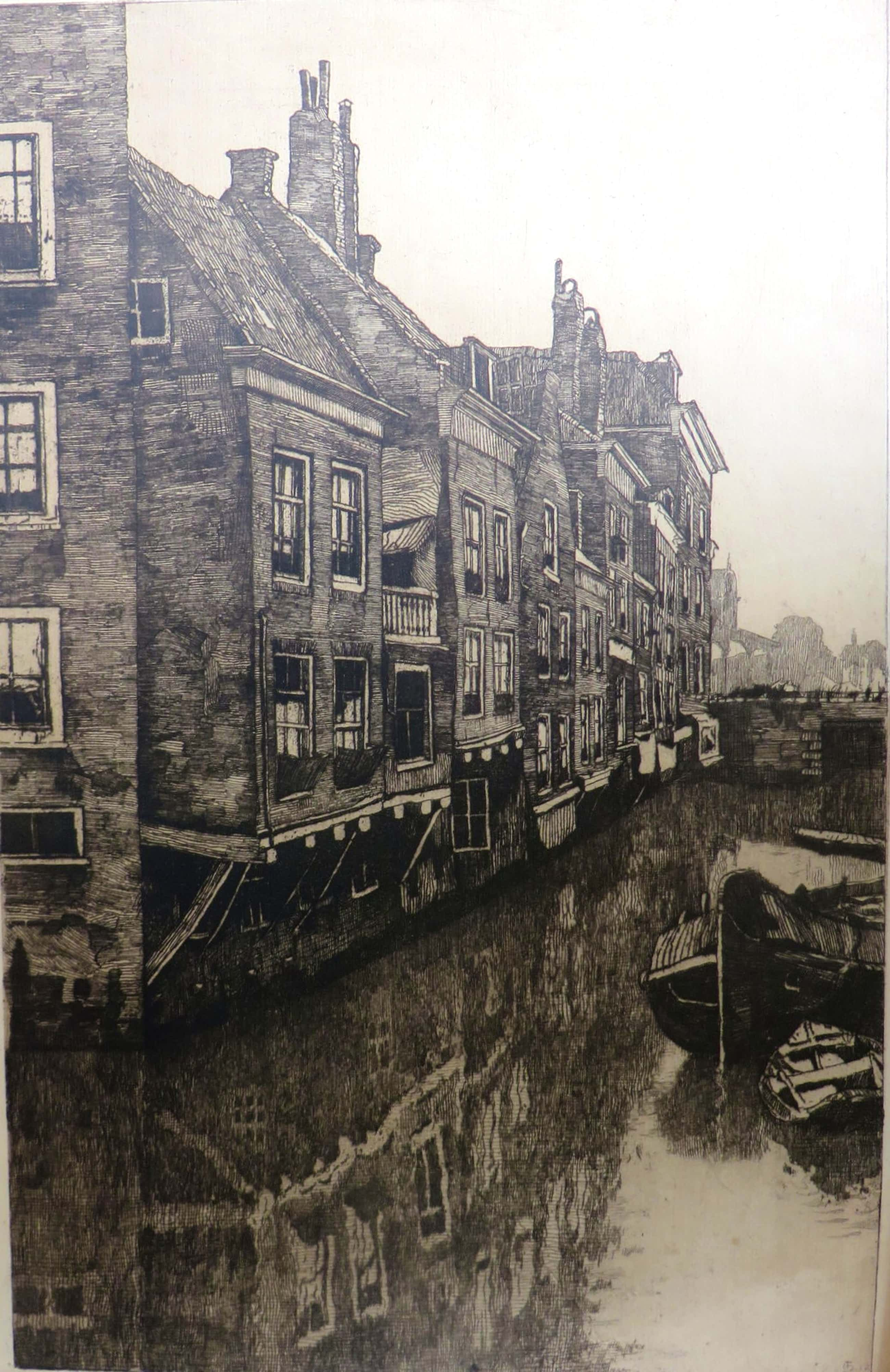 Jan Sirks - Rotterdams stadsgezicht met gracht kopen? Bied vanaf 50!