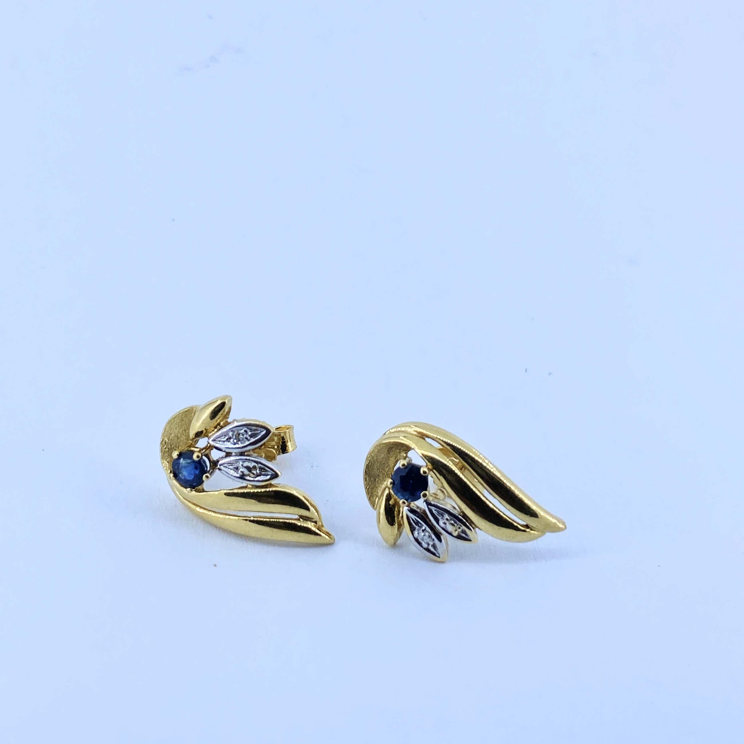 18kt gouden oorbellen met diamant en saffier, 2,94 gr kopen? Bied vanaf 170!