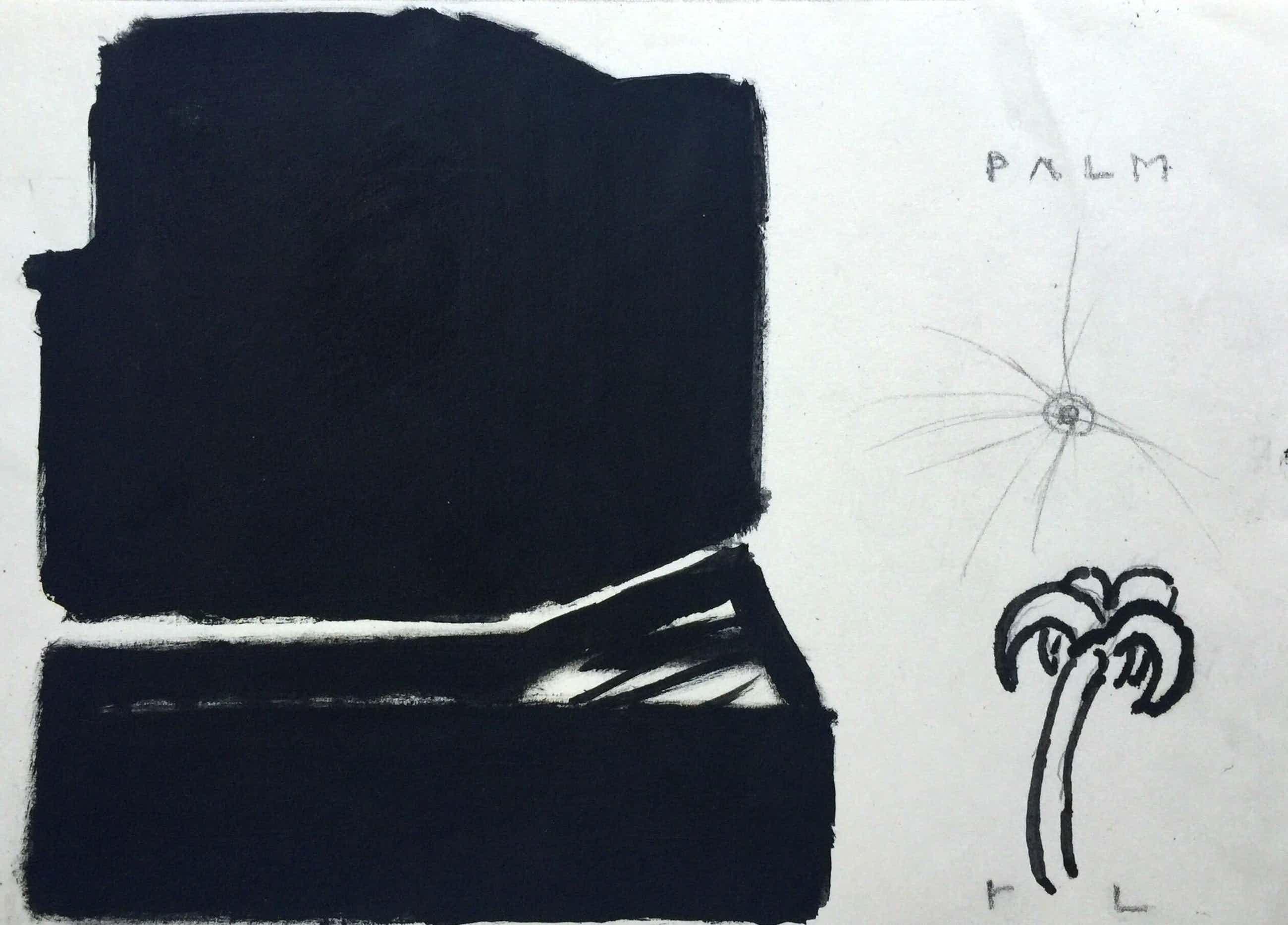 Reinier Lucassen - 'Palm' - 1986 - gemengde techniek op papier. kopen? Bied vanaf 80!