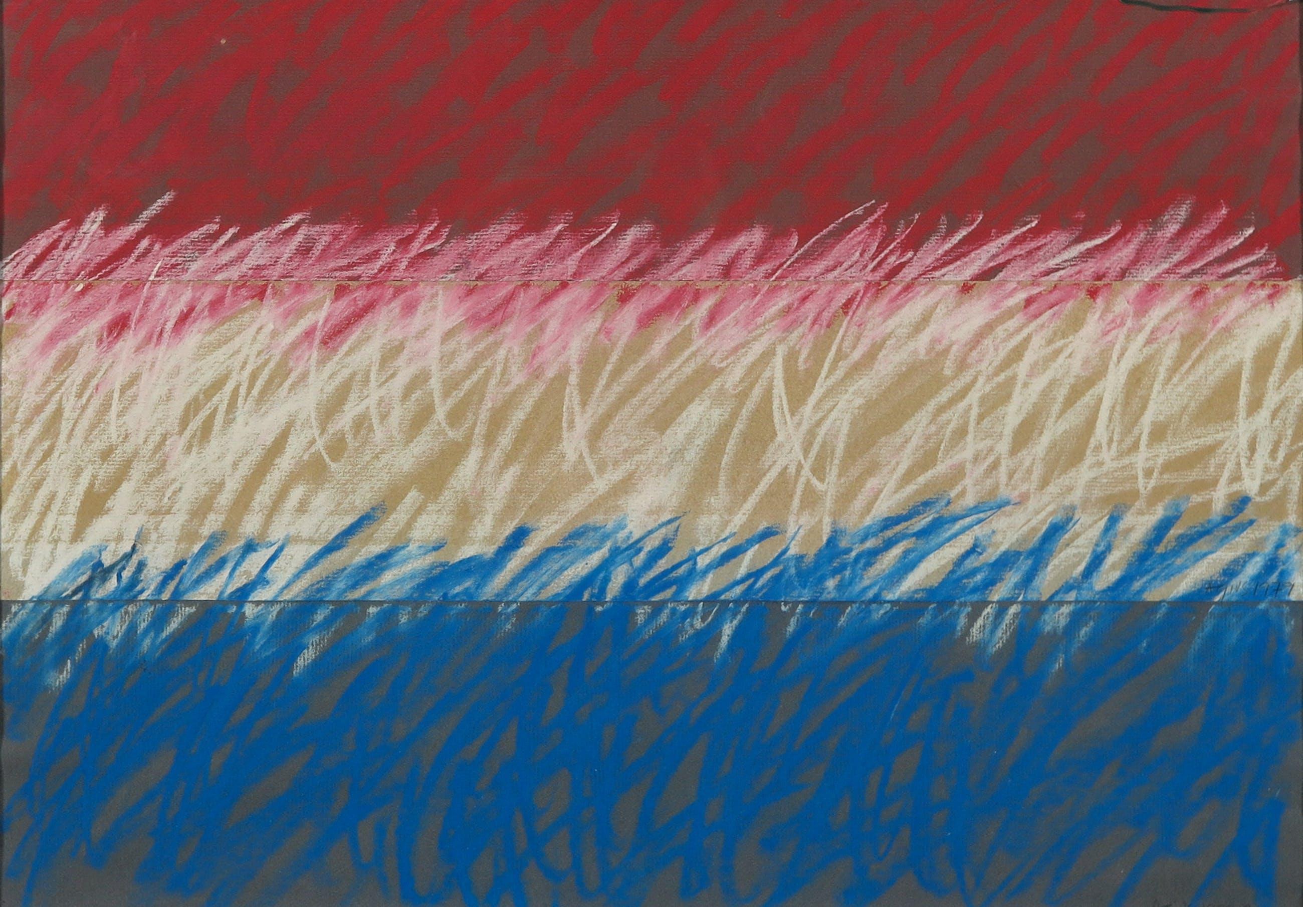 Juan J. Agius - Pastelkrijt op papier, Rood, wit, blauw - Ingelijst kopen? Bied vanaf 1!