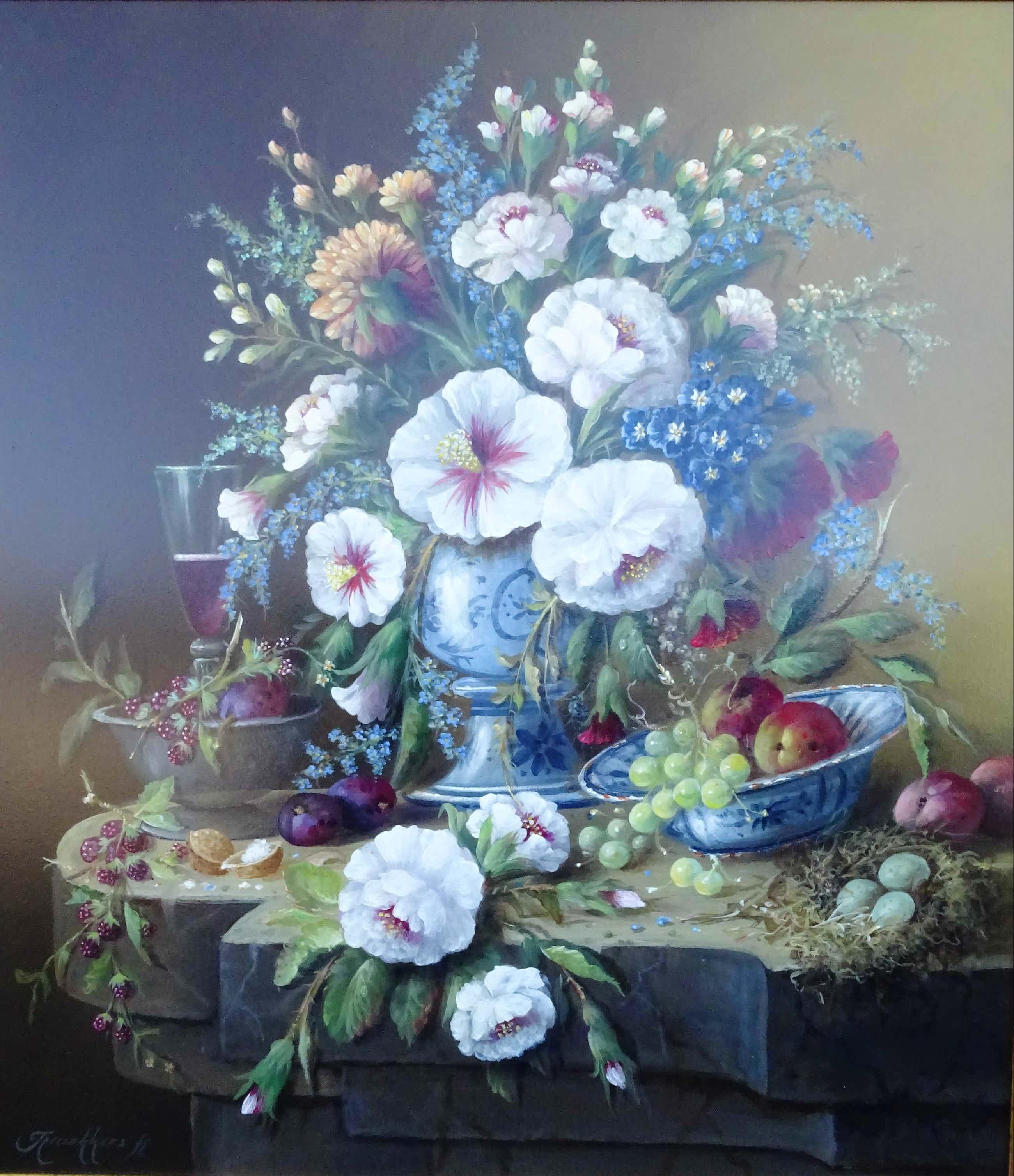 Thomas Heesakkers - Mooi groot pronkstilleven bloemen en fruit. kopen? Bied vanaf 695!