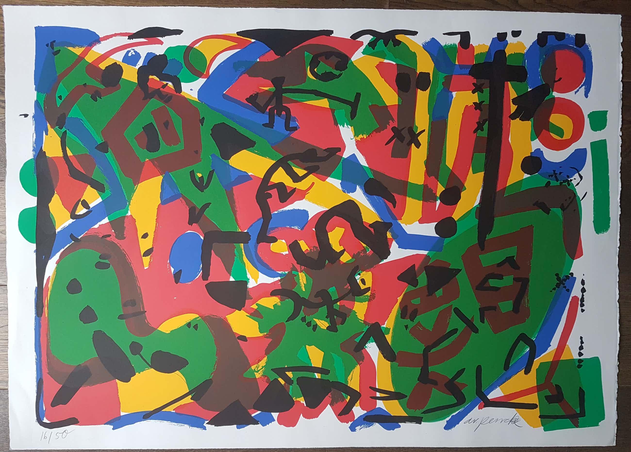 A.R. Penck - Zeer grote abstracte voorstelling kopen? Bied vanaf 500!