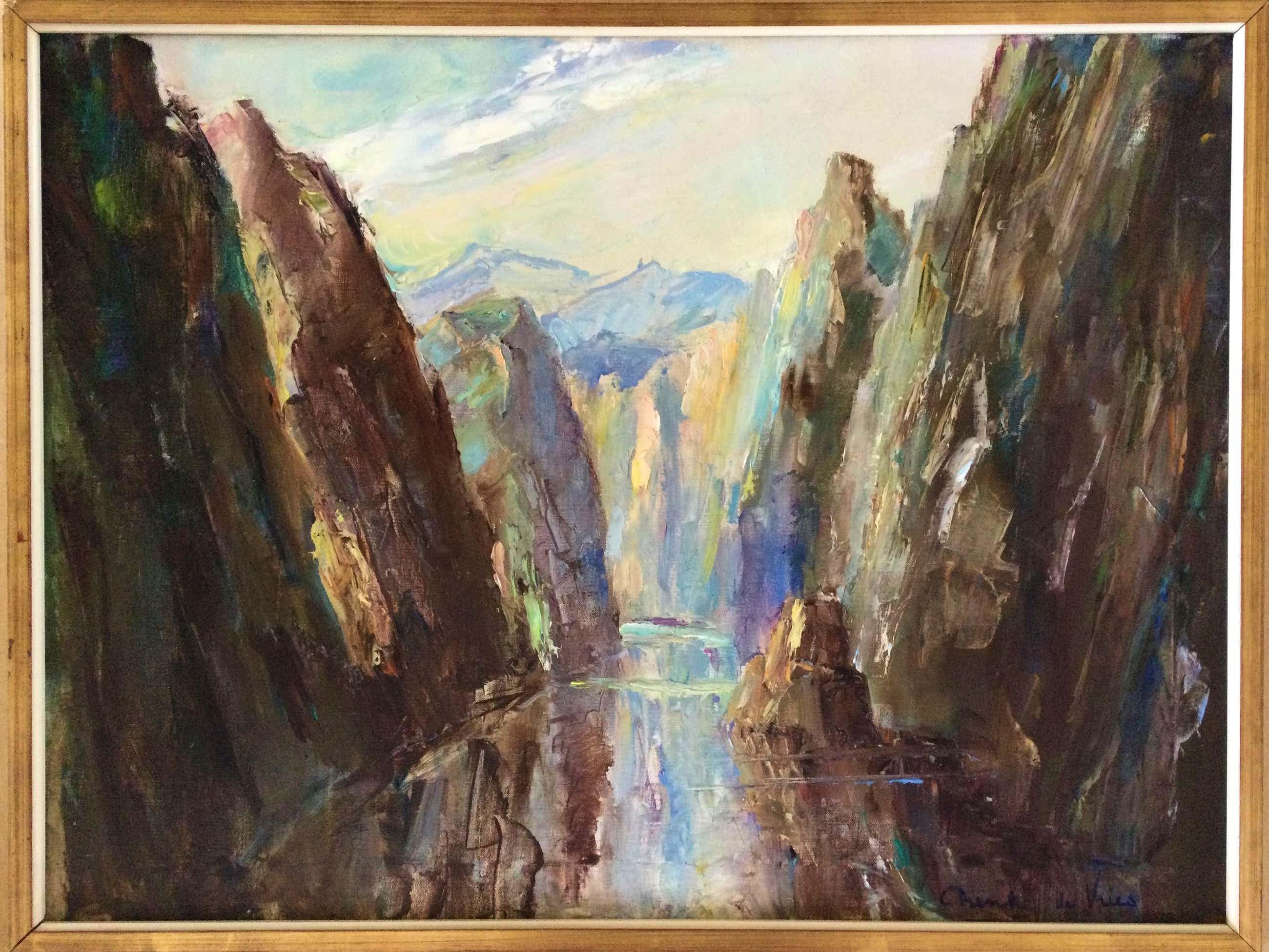 Dienke de Vries-Rohde - Fjord | Groot olieverfschilderij kopen? Bied vanaf 99!