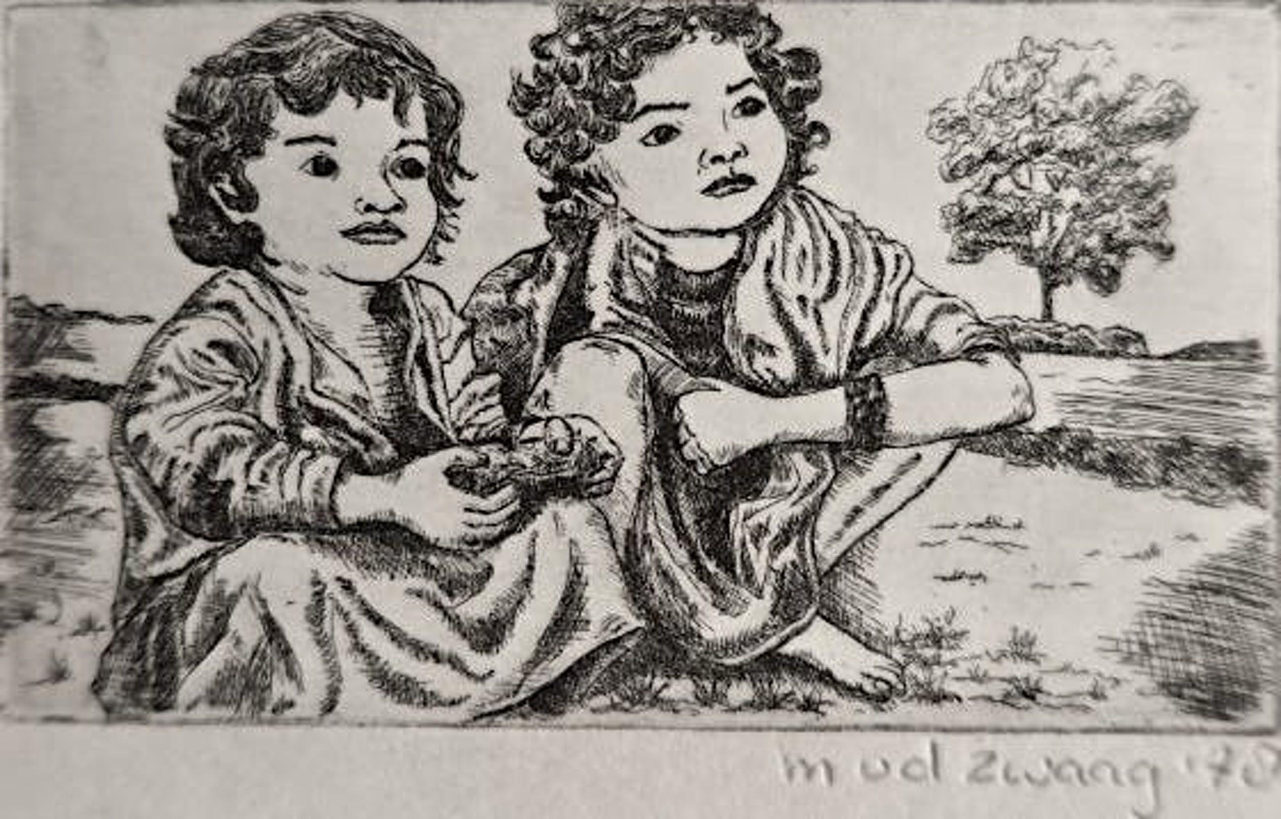 """Marijke van der Zwaag - """"Twee zusjes op blote voetjes op het land"""" - mooi ingelijst kopen? Bied vanaf 1!"""